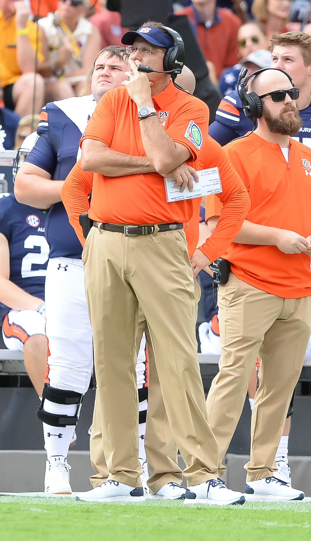 Auburn Tigers head coach Gus Malzahn looks on during the first half of Saturday's game, at Jordan Hare Stadium in Auburn AL. Daily Mountain Eagle -  Jeff Johnsey