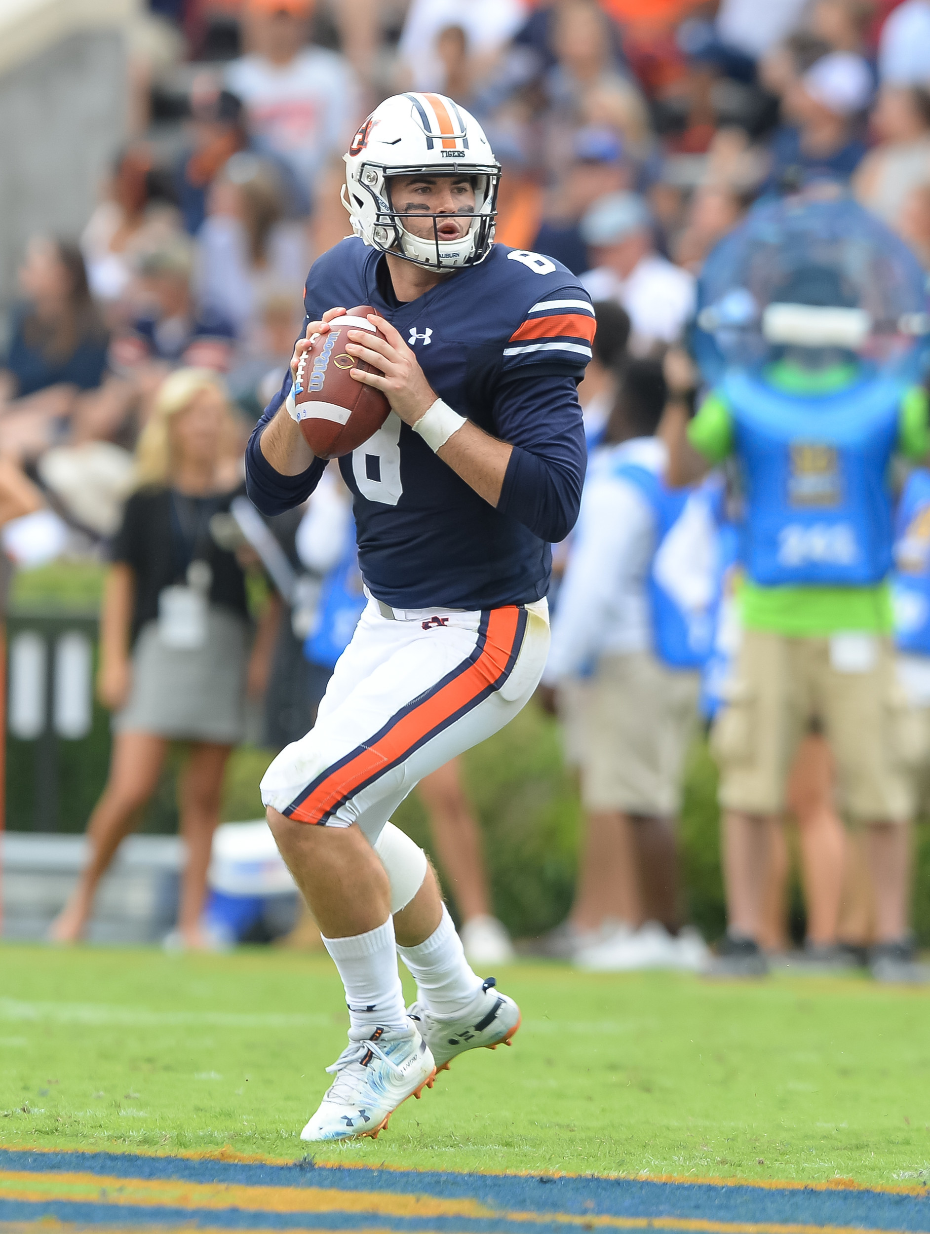 Auburn Tigers quarterback Jarrett Stidham (8) looks to throw during the first half of Saturday's game, at Jordan Hare Stadium in Auburn AL. Daily Mountain Eagle -  Jeff Johnsey