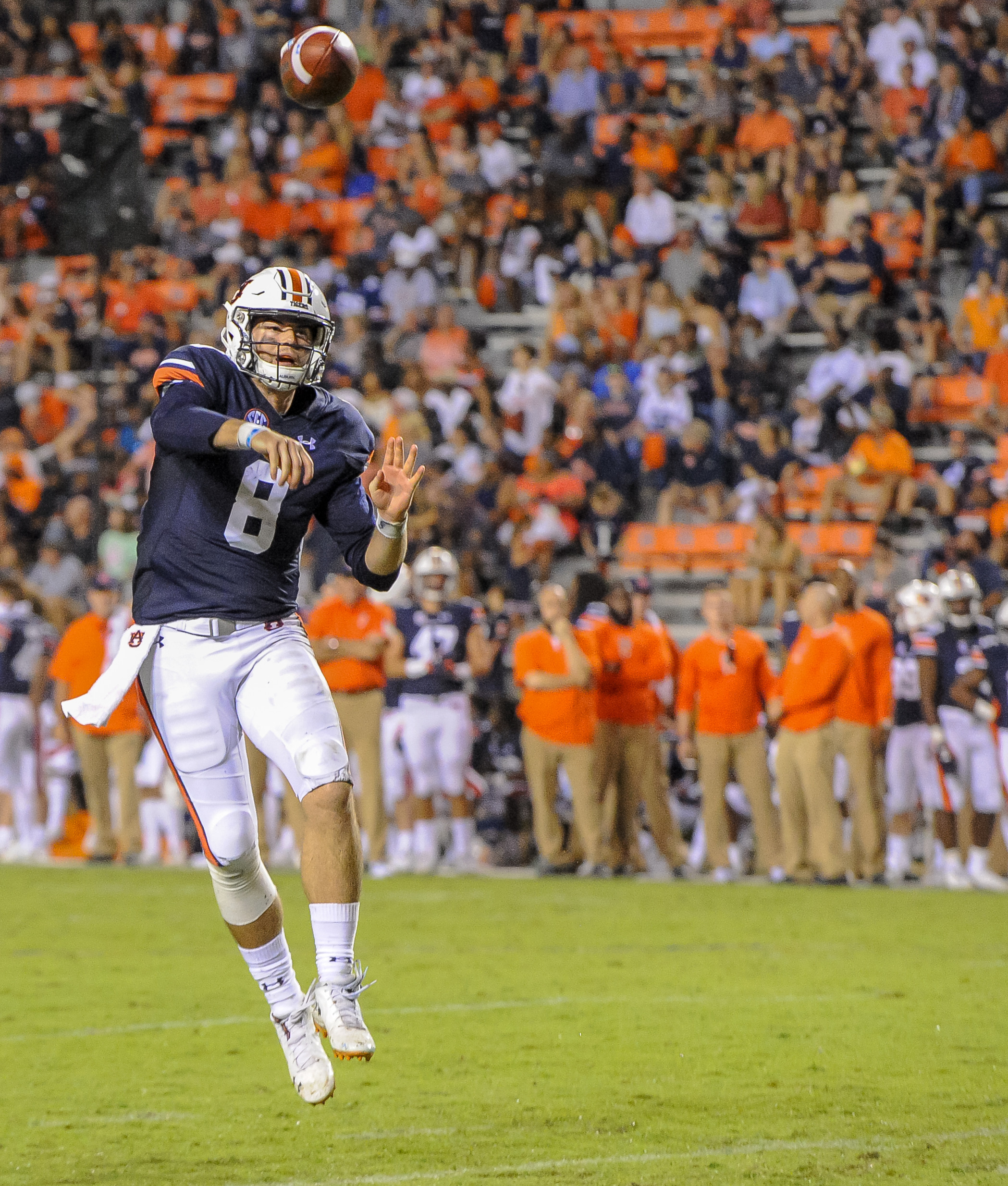 Auburn Tigers quarterback Jarrett Stidham (8) throws a touchdown pass during the second half of Saturday's game, at Jordan Hare Stadium in Auburn AL. Daily Mountain Eagle -  Jeff Johnsey
