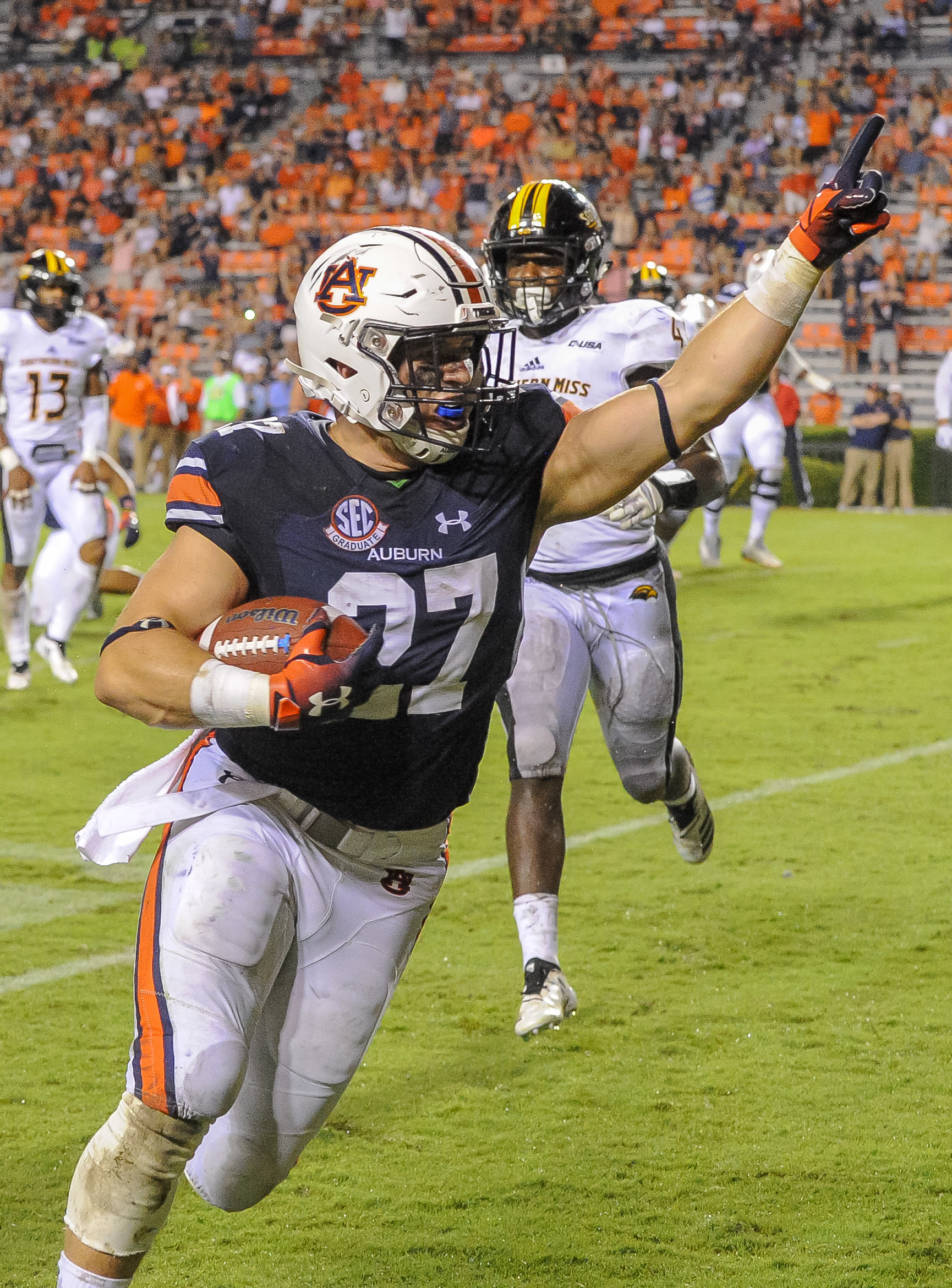 Auburn Tigers fullback Chandler Cox celebrates  a touchdown catch during the second half of Saturday's game, at Jordan Hare Stadium in Auburn AL. Daily Mountain Eagle -  Jeff Johnsey