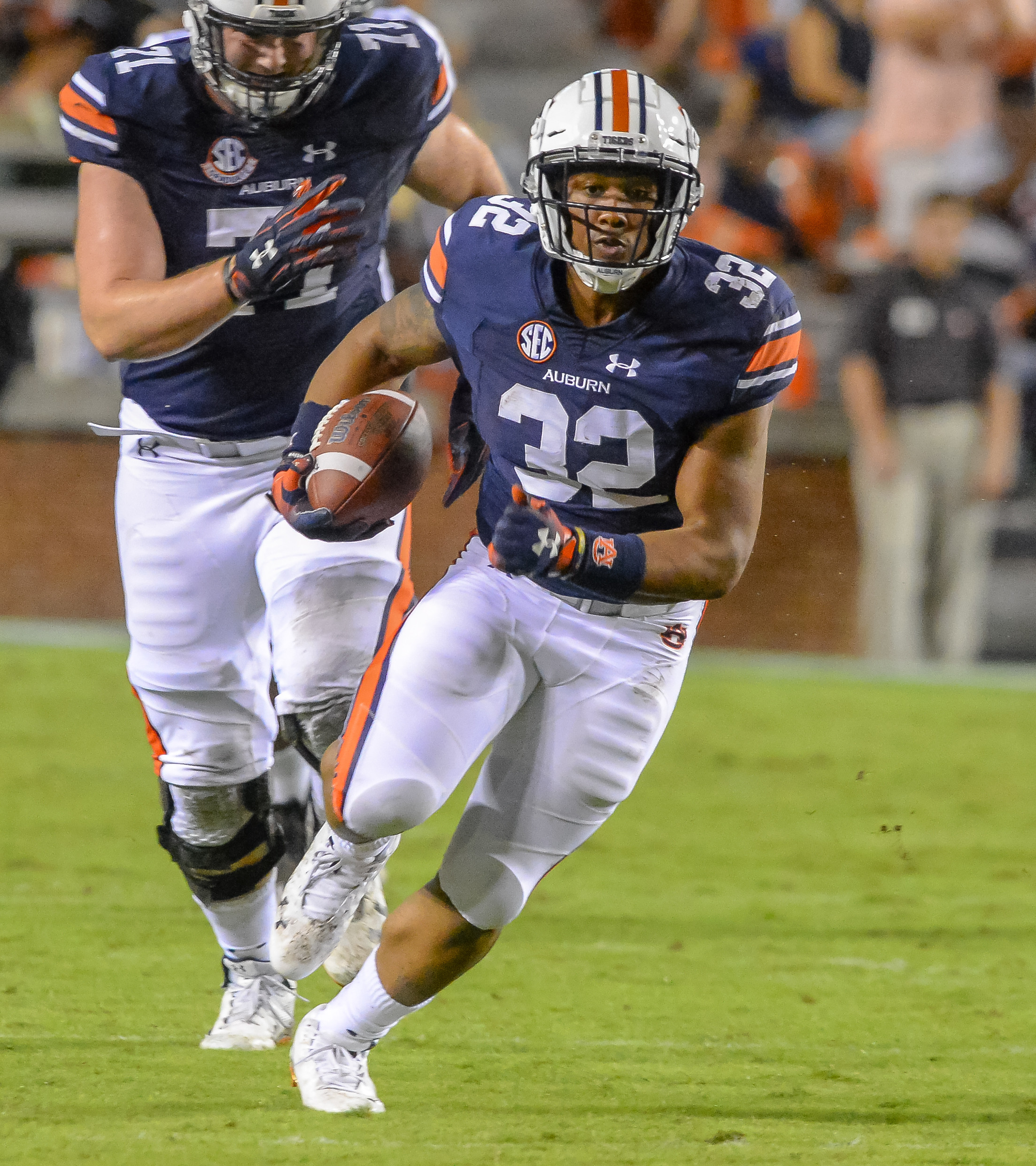 Auburn Tigers running back Malik Miller (32) runs during the second half of Saturday's game, at Jordan Hare Stadium in Auburn AL. Daily Mountain Eagle -  Jeff Johnsey