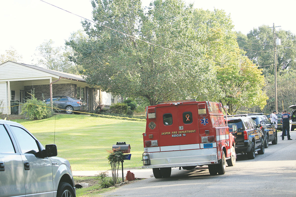Officials with the Jasper Police Department, Jasper Fire Department and Walker County Coroner's Office were on the scene of a Jasper residence where two bodies were discovered Friday afternoon.