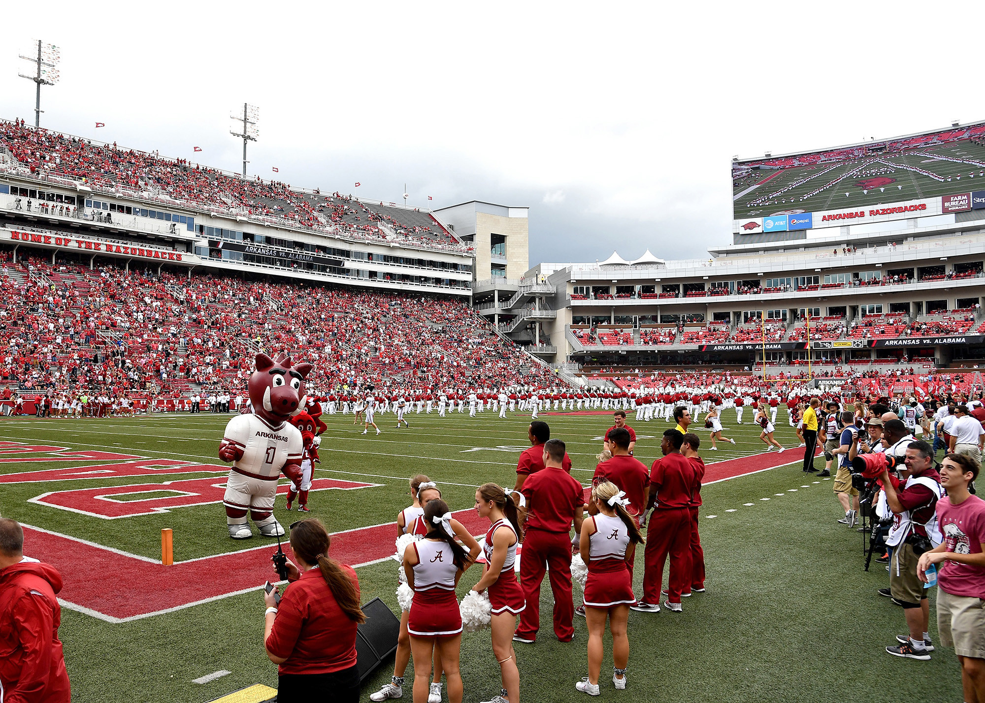 From the pregame of the NCAA football game between the Arkansas Razorbacks and the Alabama Crimson Tide at Razorback Stadium on Oct. 6, 2018, in Fayetteville, Ark. Alabama defeated Arkansas 65-31. (Photo by Lee Walls)