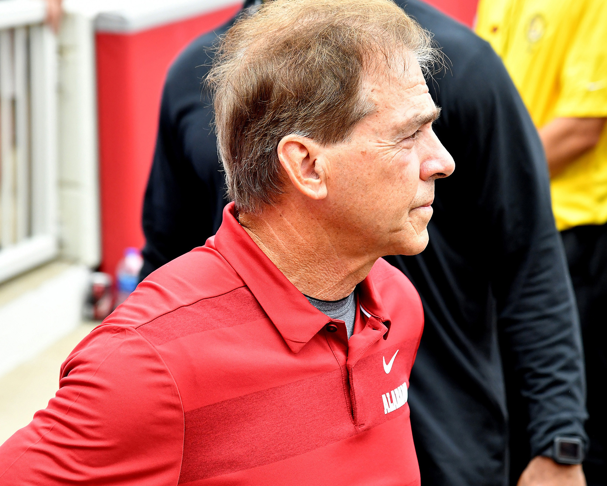 Alabama Crimson Tide head coach Nick Saban is pictured in the tunnel prior to taking the field at Razorback Stadium on Oct. 6, 2018, in Fayetteville, Ark. Alabama defeated Arkansas 65-31. (Photo by Lee Walls)