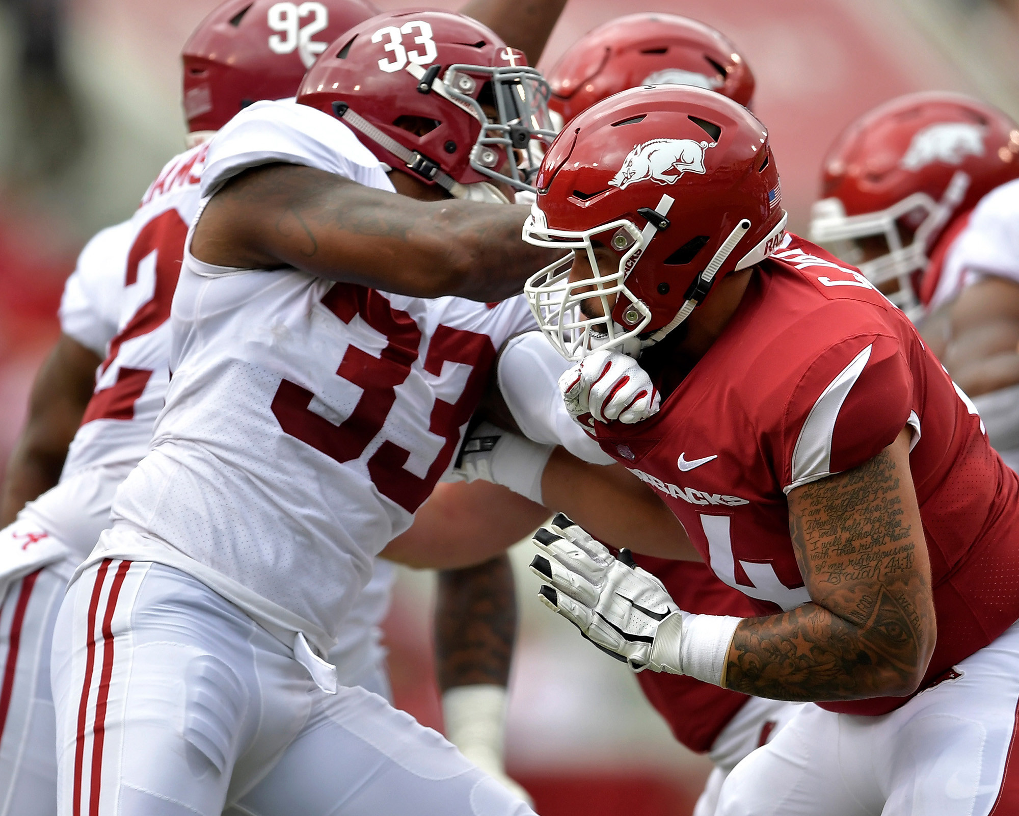 Alabama Crimson Tide linebacker Anfernee Jennings (33) during the first half of the NCAA football game against the Arkansas Razorbacks at Razorback Stadium on Oct. 6, 2018, in Fayetteville, Ark. Alabama defeated Arkansas 65-31. Alabama defeated Arkansas 65-31. (Photo by Lee Walls)