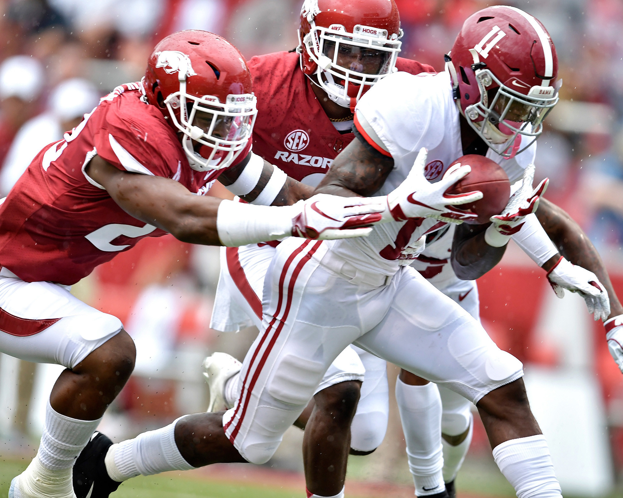 Alabama Crimson Tide wide receiver Henry Ruggs III (11) recovers a fumble and scores a touchdown during the first half of the NCAA football game at Razorback Stadium on Oct. 6, 2018, in Fayetteville, Ark. Alabama defeated Arkansas 65-31. (Photo by Lee Walls)