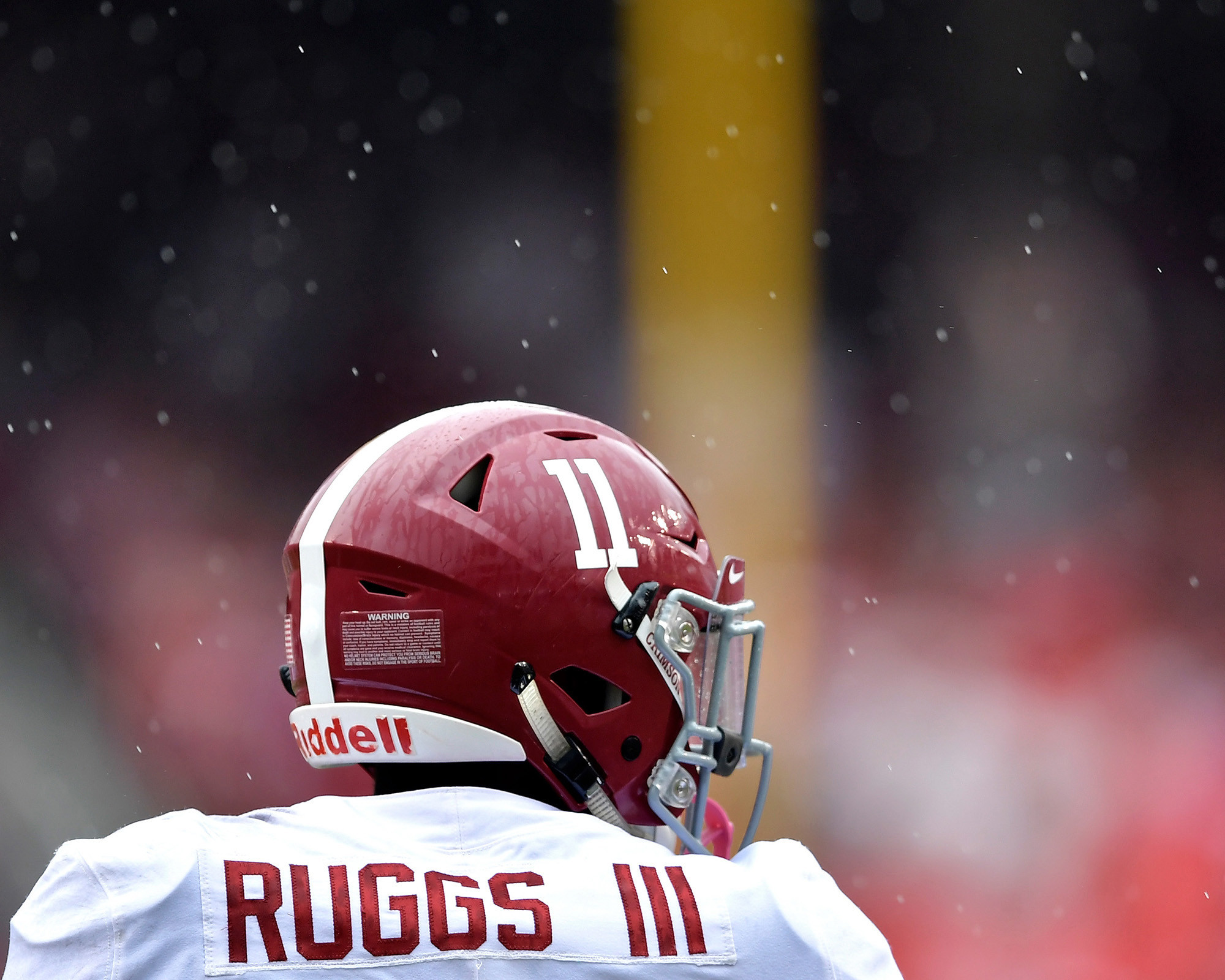 Rain falls during the first half of the NCAA football game between the Arkansas Razorbacks and the Alabama Crimson Tide at Razorback Stadium on Oct. 6, 2018, in Fayetteville, Ark. Alabama defeated Arkansas 65-31. (Photo by Lee Walls)