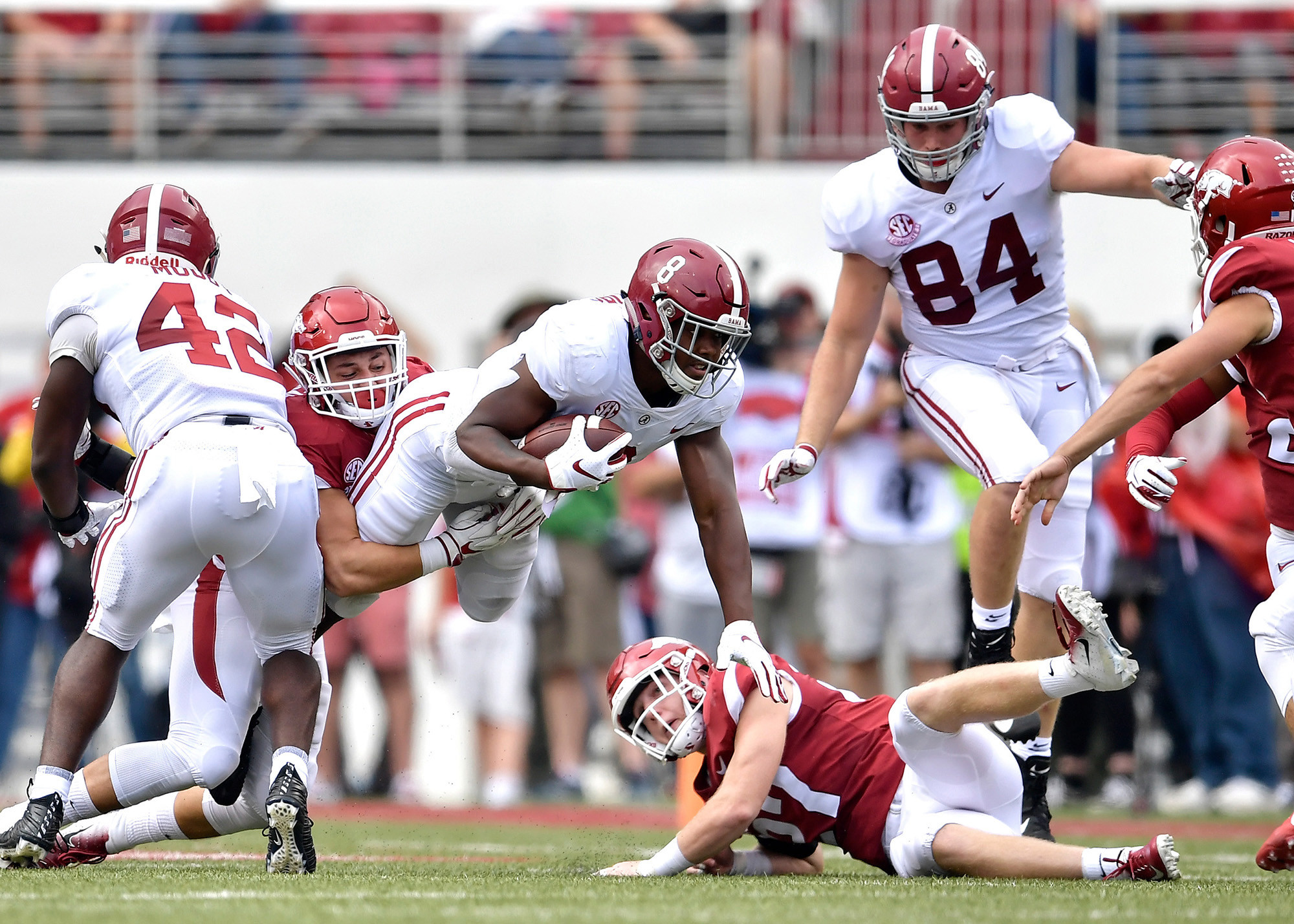 Alabama Crimson Tide running back Josh Jacobs (8) in action during the first half of the NCAA football game at Razorback Stadium on Oct. 6, 2018, in Fayetteville, Ark. Alabama defeated Arkansas 65-31. (Photo by Lee Walls)