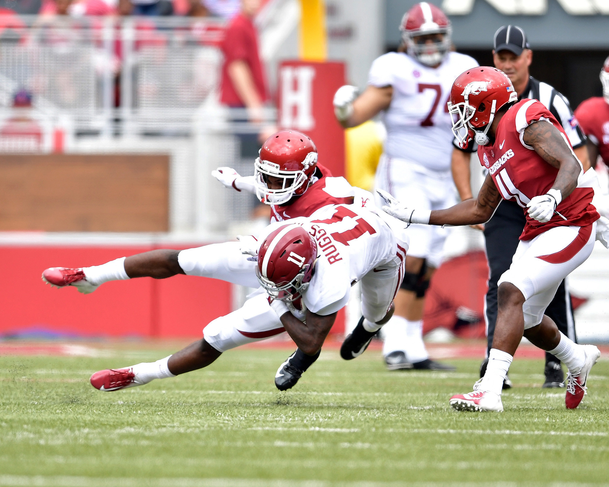 From the first half of the NCAA football game between the Arkansas Razorbacks and the Alabama Crimson Tide at Razorback Stadium on Oct. 6, 2018, in Fayetteville, Ark. Alabama defeated Arkansas 65-31. (Photo by Lee Walls)