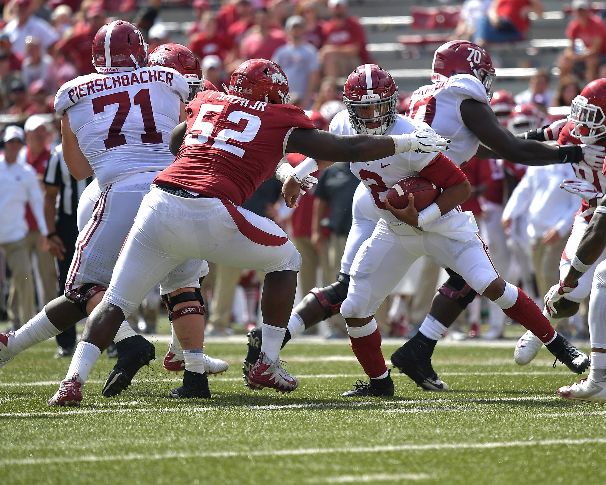 From the second half of the NCAA football game between the Arkansas Razorbacks and the Alabama Crimson Tide at Razorback Stadium on Oct. 6, 2018, in Fayetteville, Ark. Alabama defeated Arkansas 65-31. (Photo by Lee Walls)