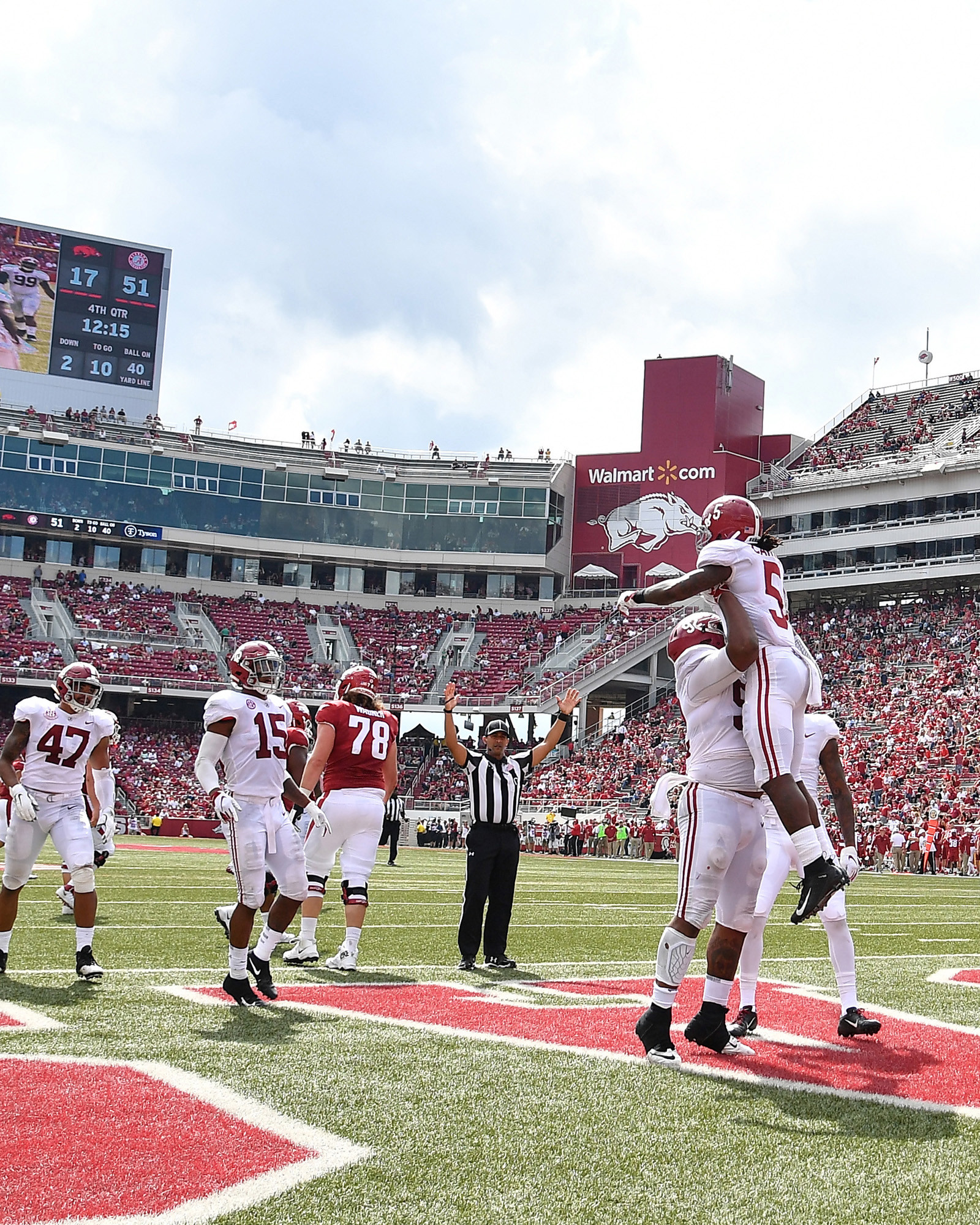 Alabama Crimson Tide defensive back Shyheim Carter (5) with a pick-six in the second half of the NCAA football game against the Arkansas Razorbacks at Razorback Stadium on Oct. 6, 2018, in Fayetteville, Ark. Alabama defeated Arkansas 65-31. (Photo by Lee Walls) )