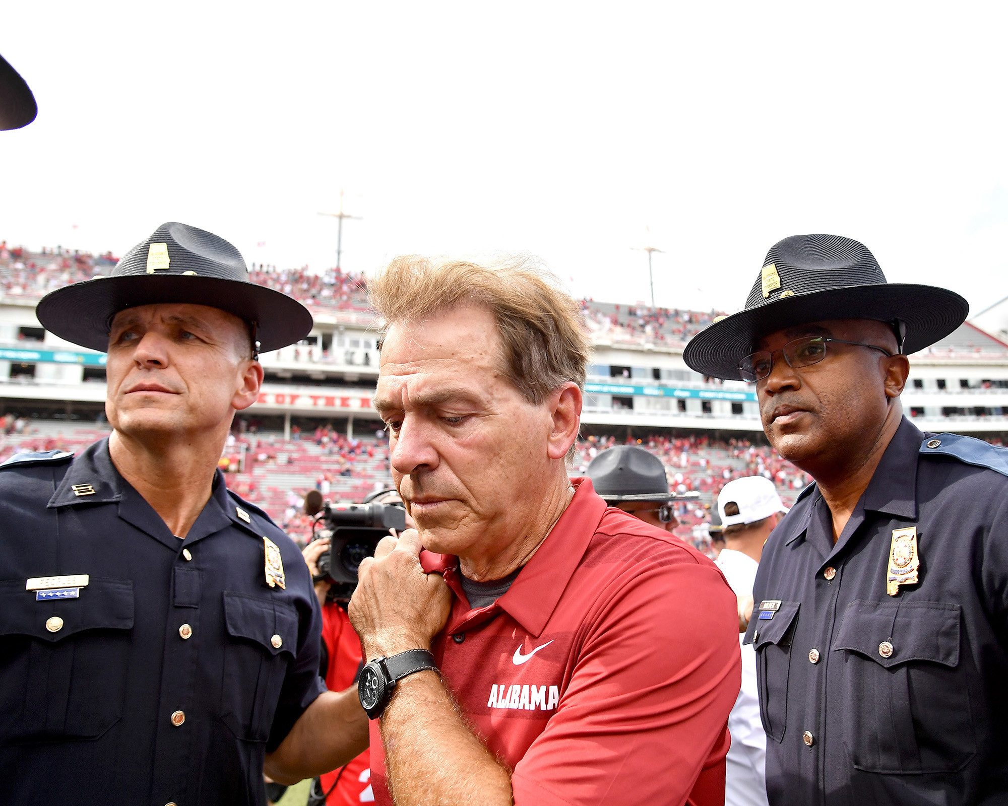 Alabama Crimson Tide head coach Nick Saban leaves the field following the Tide's 65-31 win over the Arkansas Razorbacks at Razorback Stadium on Oct. 6, 2018, in Fayetteville, Ark. (Photo by Lee Walls)