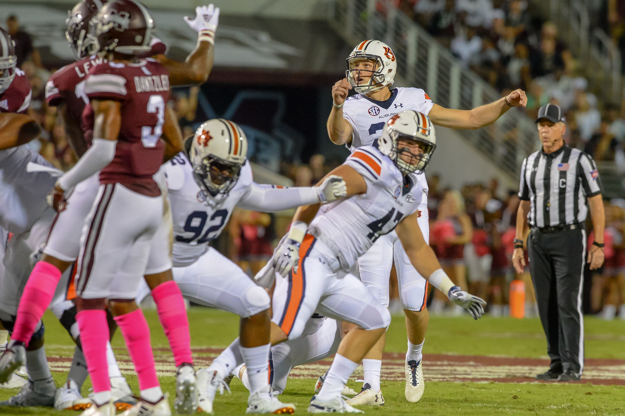 Auburn Tigers place kicker Anders Carlson (26) watches as his 47 yard field goal attempt is good during the first half of Saturday's game, at Davis Wade Stadium in Starkville, MS. Daily Mountain Eagle -  Jeff Johnsey