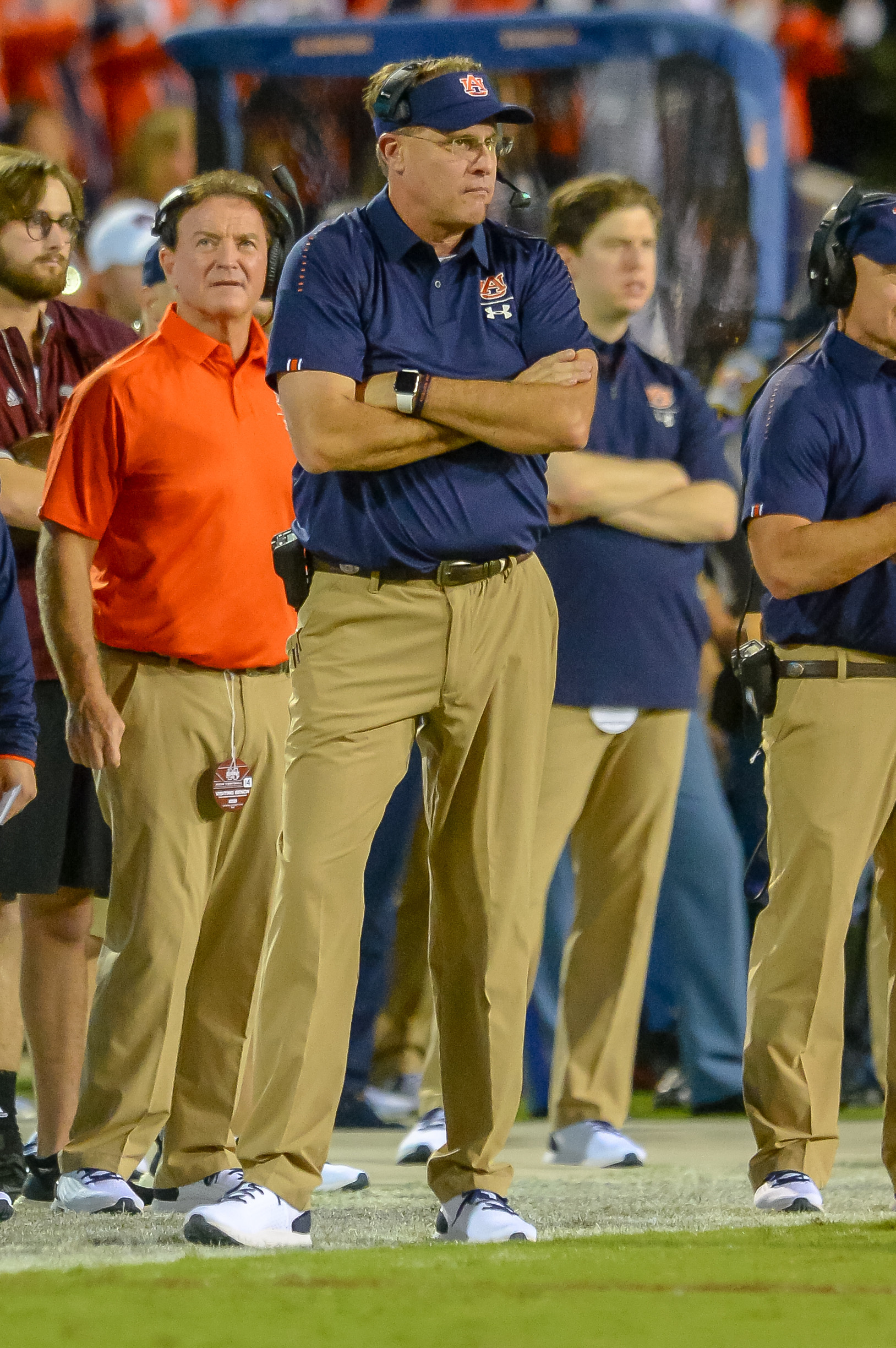 Auburn Tigers head coach Gus Malzahn looks on during the first half of Saturday's game, at Davis Wade Stadium in Starkville, MS. Daily Mountain Eagle -  Jeff Johnsey