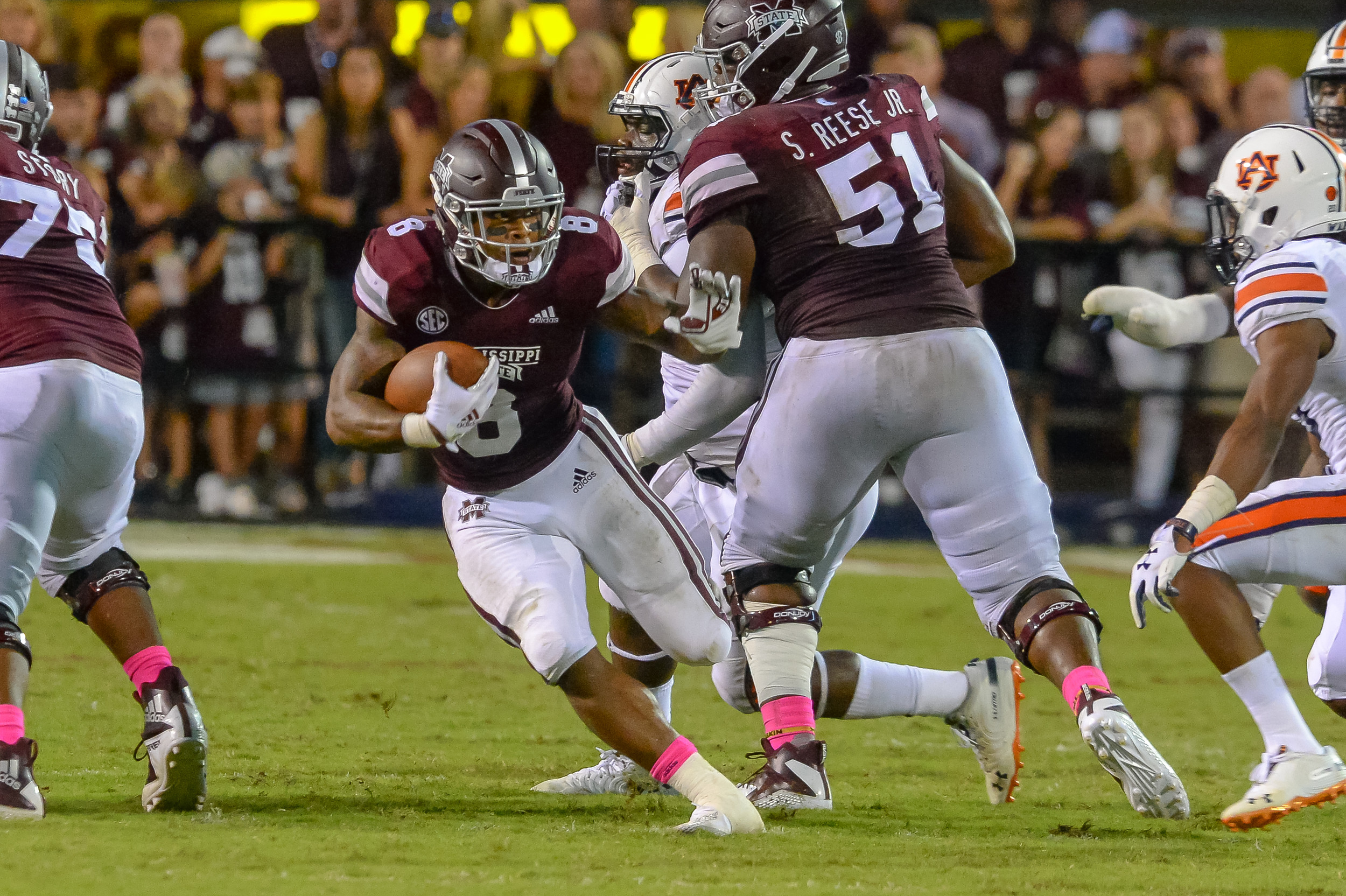 Mississippi State Bulldogs running back Kylin Hill (8) runs during the second half of Saturday's game, at Davis Wade Stadium in Starkville, MS. Daily Mountain Eagle -  Jeff Johnsey