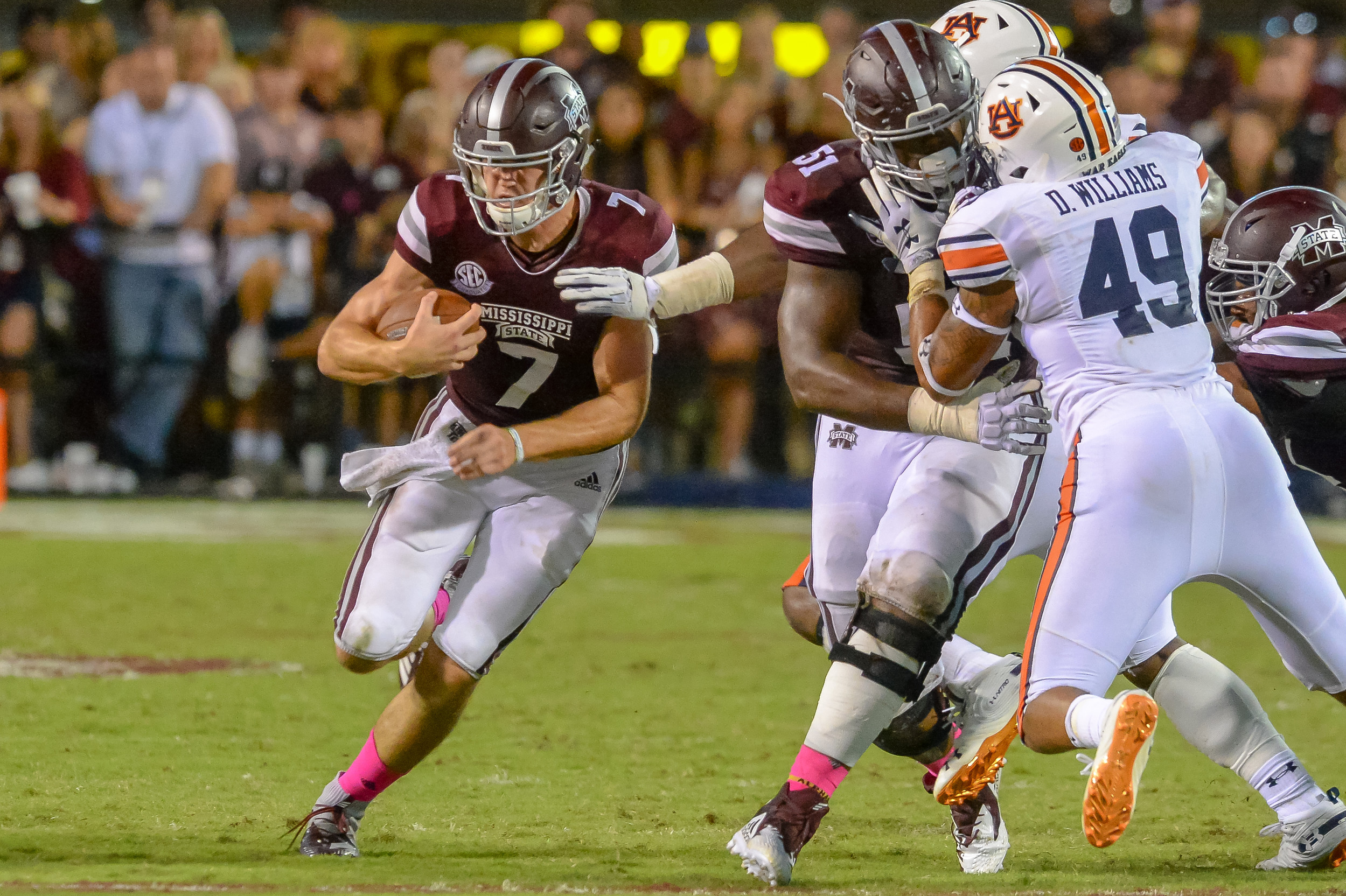 Mississippi State Bulldogs quarterback Nick Fitzgerald (7) runs for a first down during the second half of Saturday's game, at Davis Wade Stadium in Starkville, MS. Daily Mountain Eagle -  Jeff Johnsey