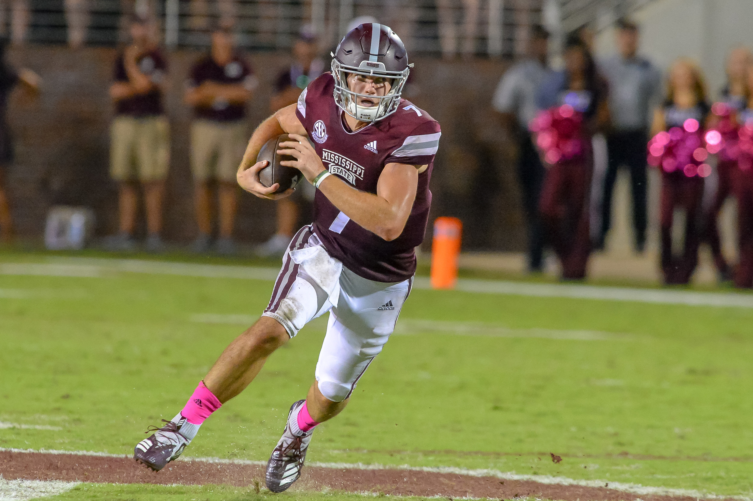 Mississippi State Bulldogs quarterback Nick Fitzgerald (7) runs during the second half of Saturday's game, at Davis Wade Stadium in Starkville, MS. Daily Mountain Eagle -  Jeff Johnsey