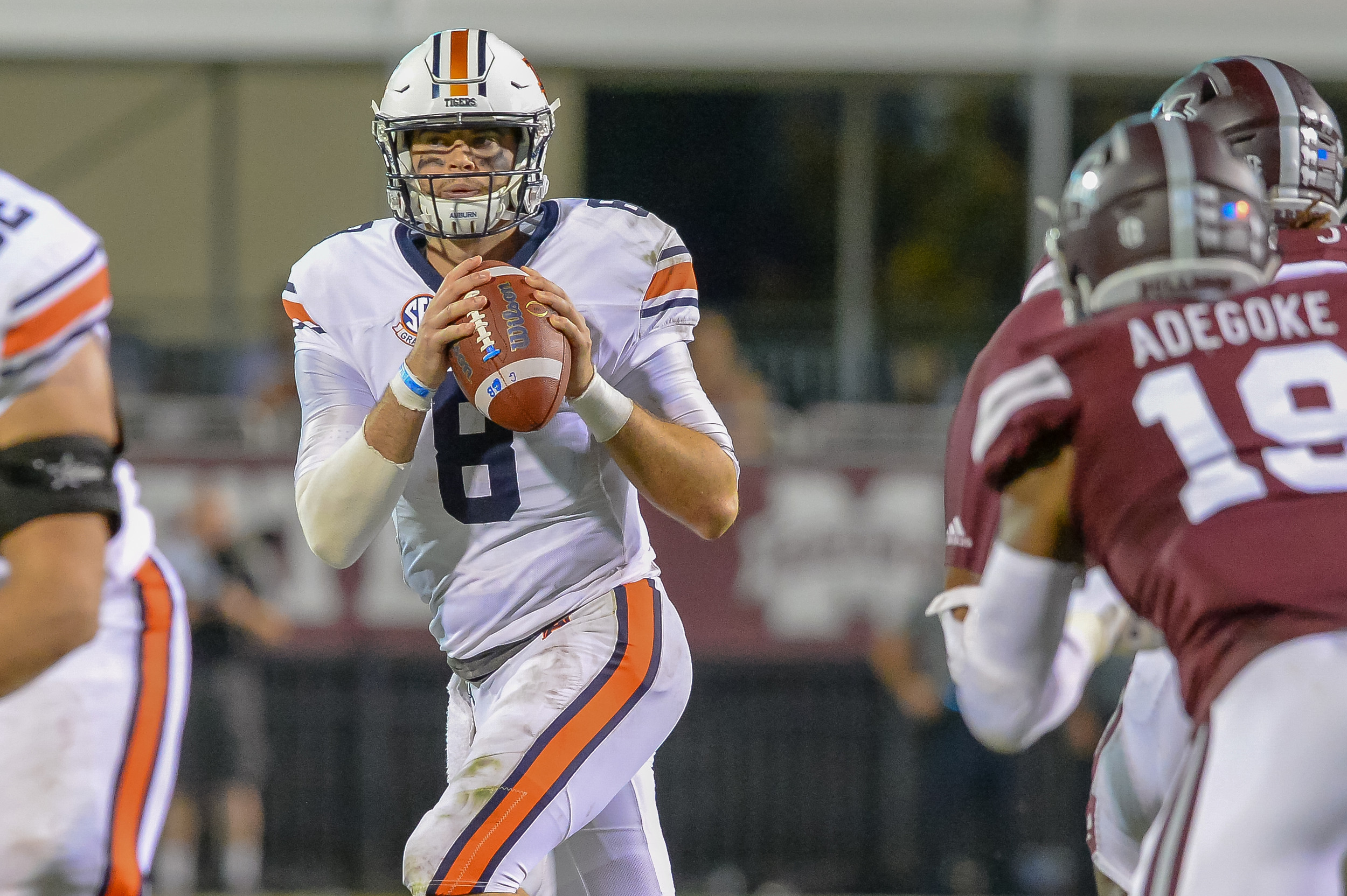 Auburn Tigers quarterback Jarrett Stidham (8) looks to throw during the second half of Saturday's game, at Davis Wade Stadium in Starkville, MS. Daily Mountain Eagle -  Jeff Johnsey