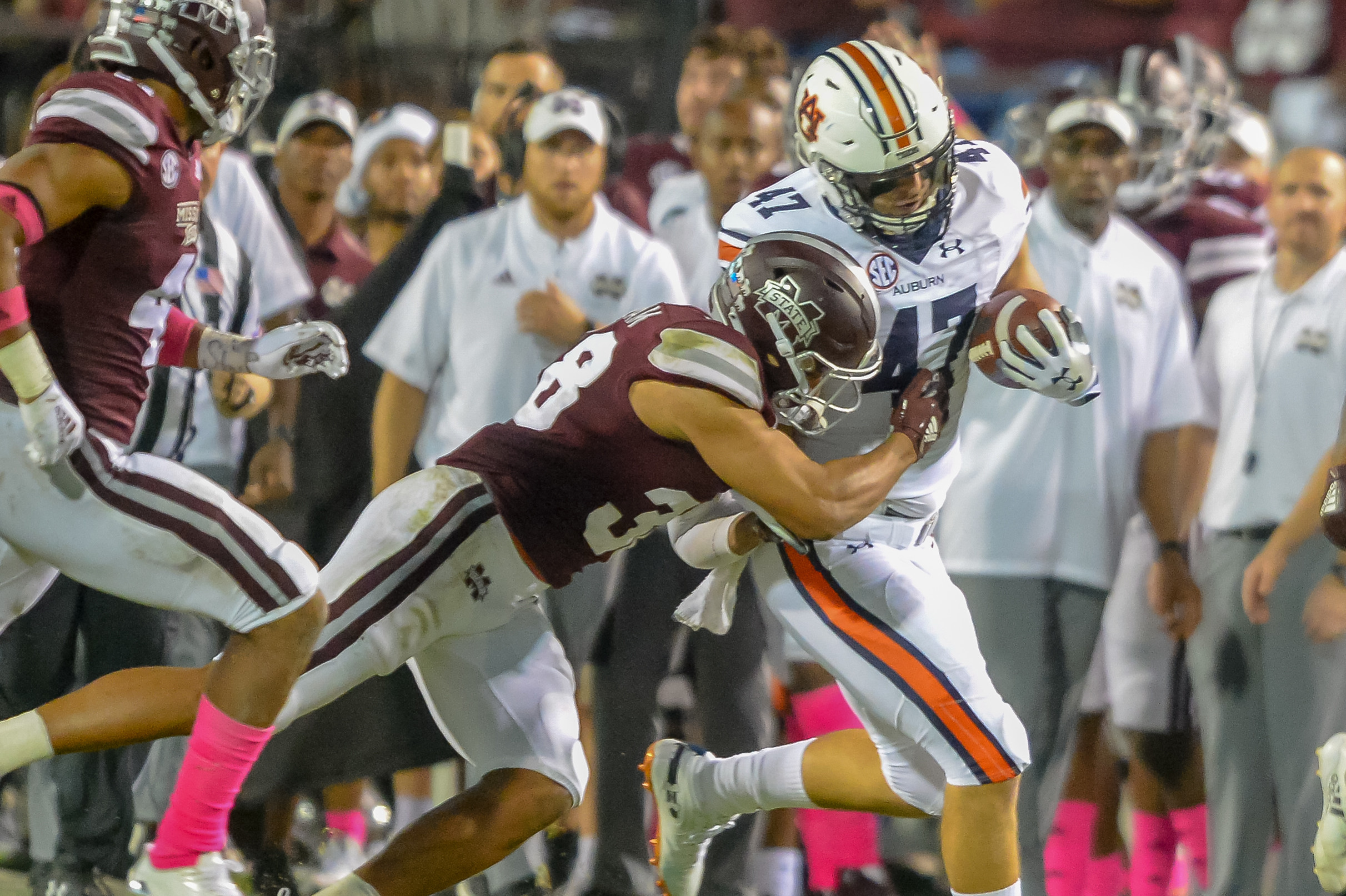 Mississippi State Bulldogs safety Johnathan Abram (38) pushes Auburn Tigers tight end John Shenker (47) out of bounds during the second half of Saturday's game, at Davis Wade Stadium in Starkville, MS. Daily Mountain Eagle -  Jeff Johnsey