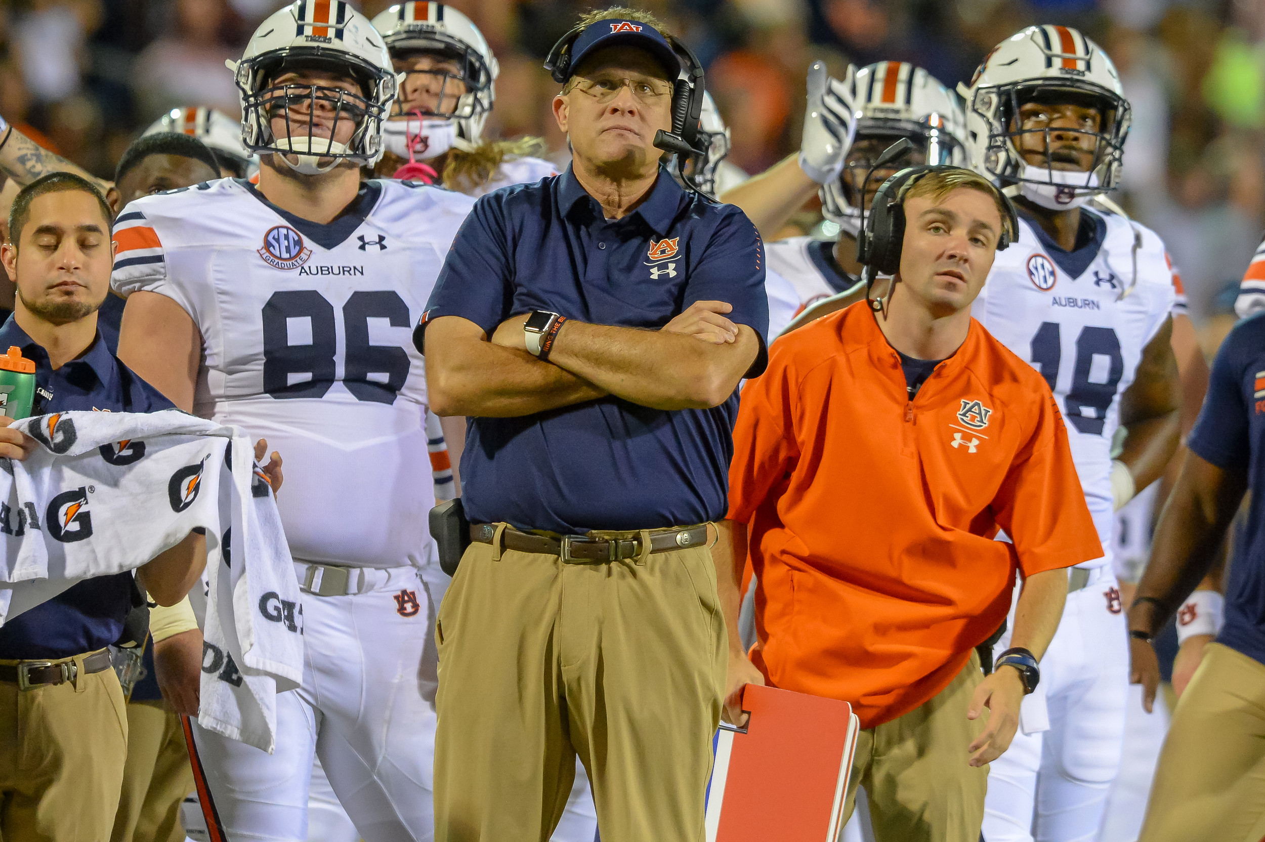 Auburn Tigers head coach Gus Malzahn awaits a replay decision during the second half of Saturday's game, at Davis Wade Stadium in Starkville, MS. Daily Mountain Eagle -  Jeff Johnsey