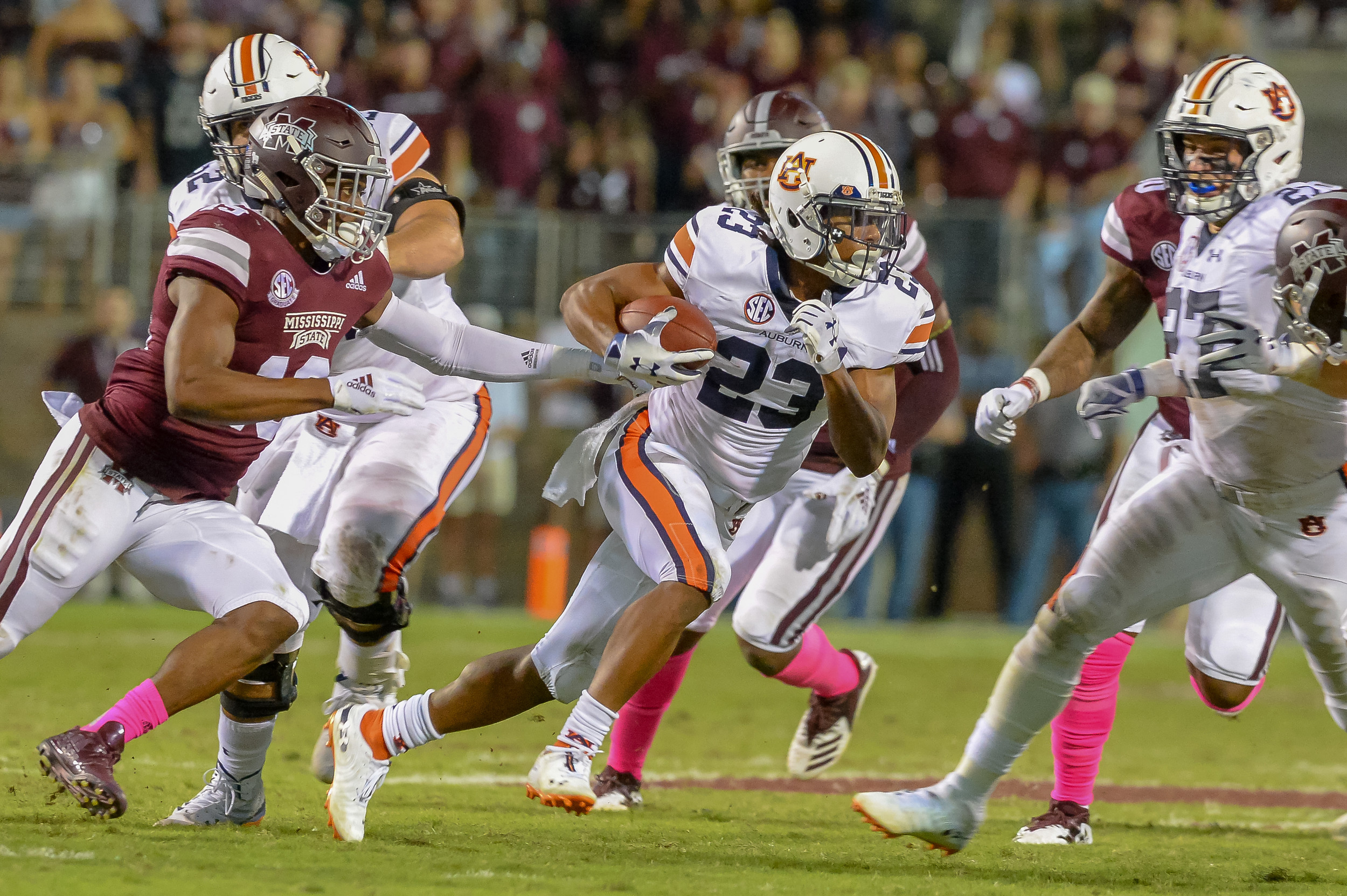 Auburn Tigers wide receiver Ryan Davis (23) runs after making a catch during the second half of Saturday's game, at Davis Wade Stadium in Starkville, MS. Daily Mountain Eagle -  Jeff Johnsey