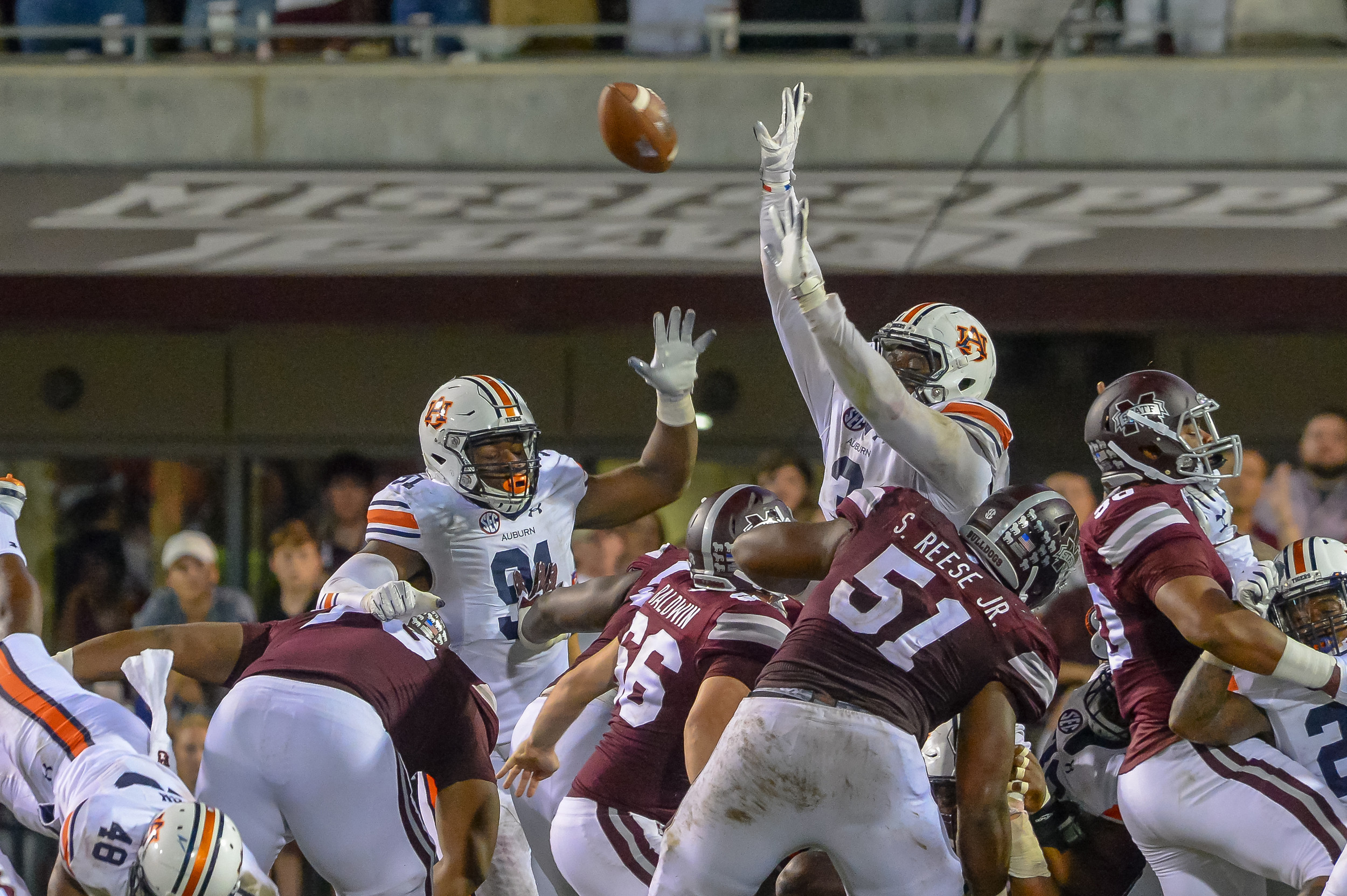 Auburn Tigers defensive lineman Marlon Davidson (3) blocks a field goal attempt during the second half of Saturday's game, at Davis Wade Stadium in Starkville, MS. Daily Mountain Eagle -  Jeff Johnsey