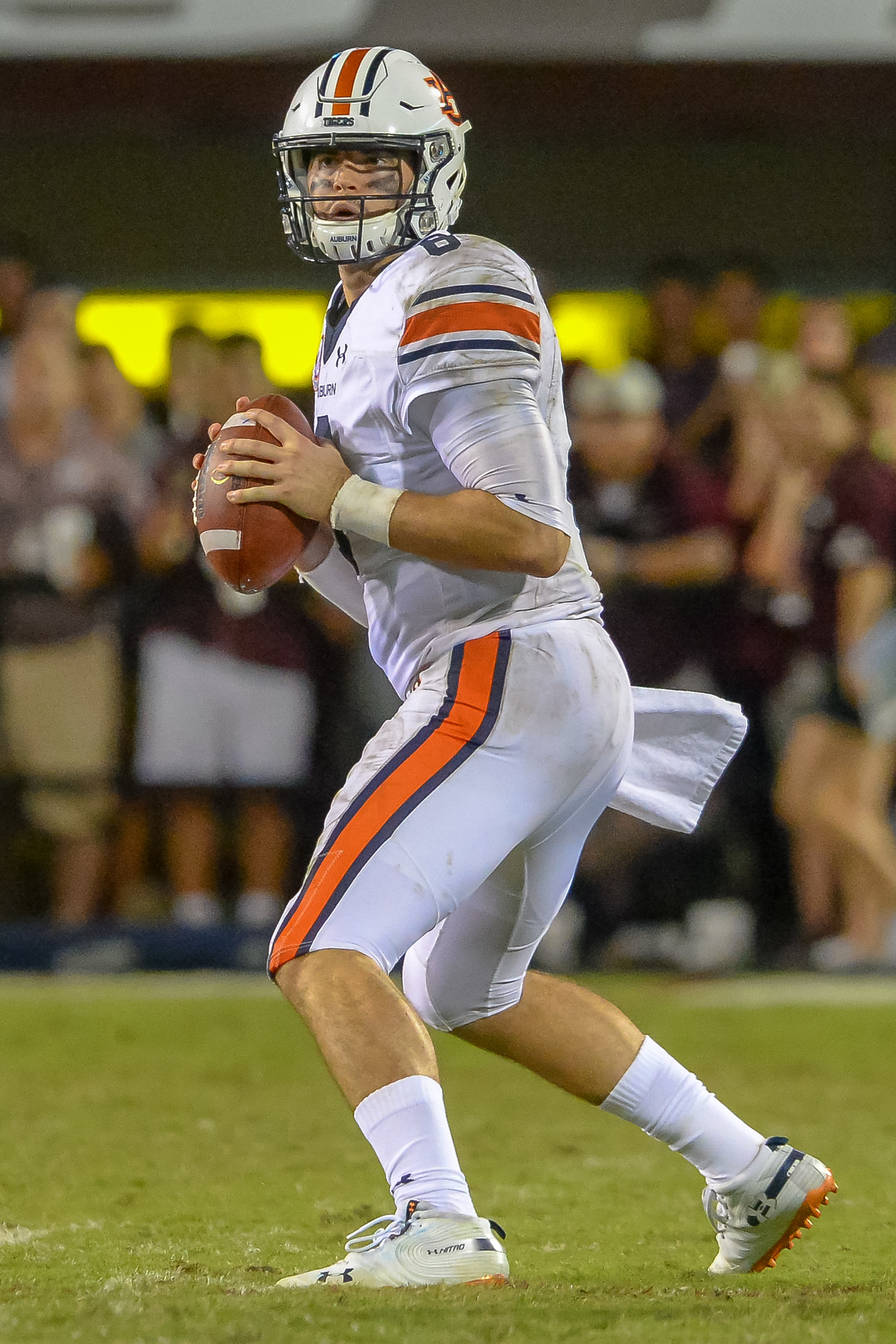 Auburn Tigers quarterback Jarrett Stidham (8) looks to throw downfield during the second half of Saturday's game, at Davis Wade Stadium in Starkville, MS. Daily Mountain Eagle -  Jeff Johnsey