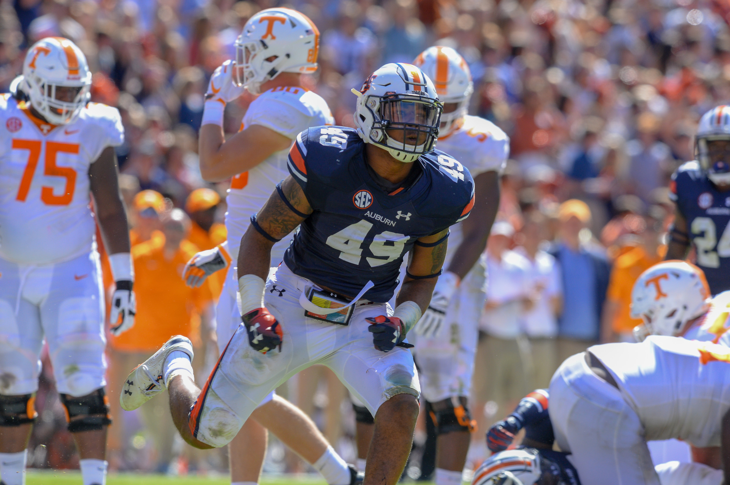 Auburn Tigers linebacker Darrell Williams (49) reacts after a tackle during the second half of Saturday's game, at Jordan-Hare Stadium in Auburn, AL. Daily Mountain Eagle -  Jeff Johnsey