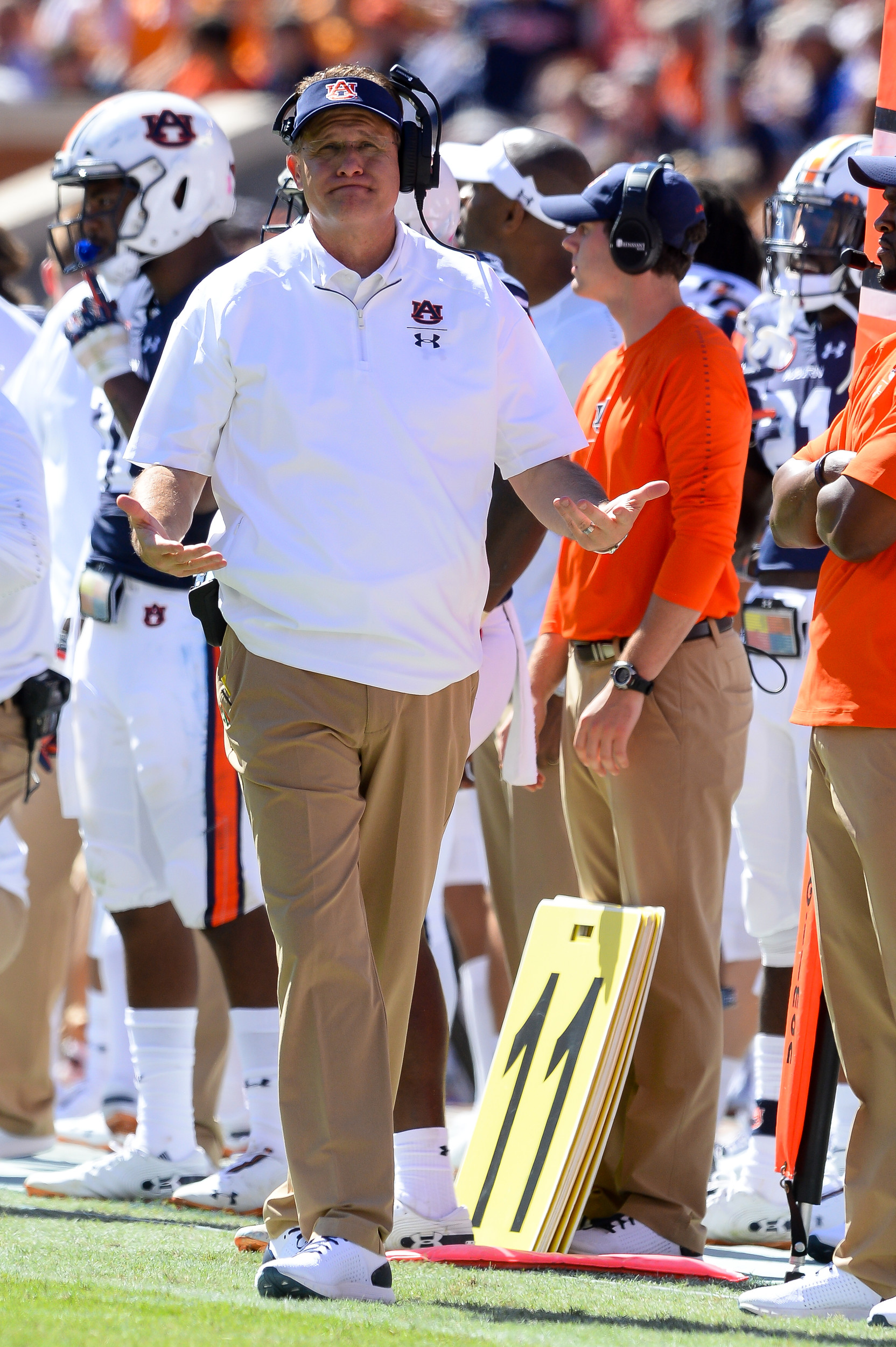 Auburn Tigers head coach Gus Malzahn during the second half of Saturday's game, at Jordan-Hare Stadium in Auburn, AL. Daily Mountain Eagle -  Jeff Johnsey