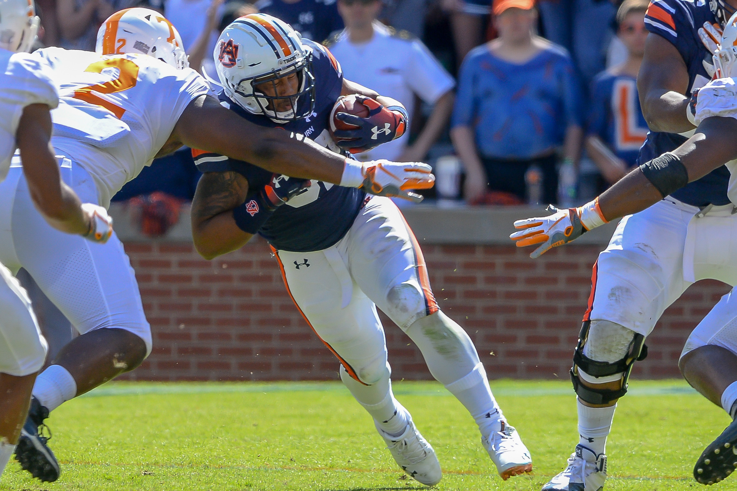 Tennessee Volunteers defensive lineman Shy Tuttle (2) makes a tackle on Auburn Tigers running back Malik Miller (32) during the second half of Saturday's game, at Jordan-Hare Stadium in Auburn, AL. Daily Mountain Eagle -  Jeff Johnsey