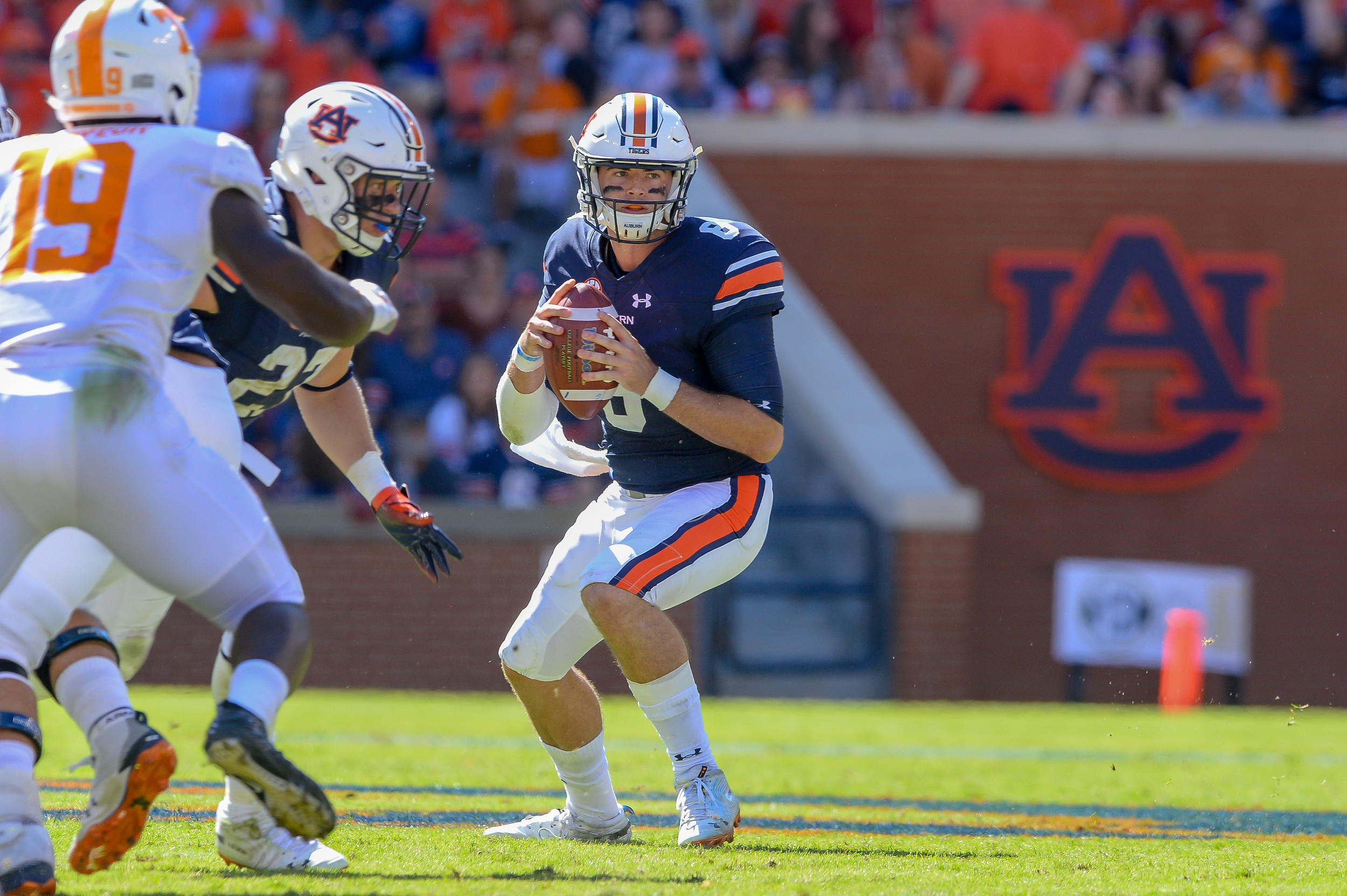Auburn Tigers quarterback Jarrett Stidham (8) tucks the ball to run during the second half of Saturday's game, at Jordan-Hare Stadium in Auburn, AL. Daily Mountain Eagle -  Jeff Johnsey