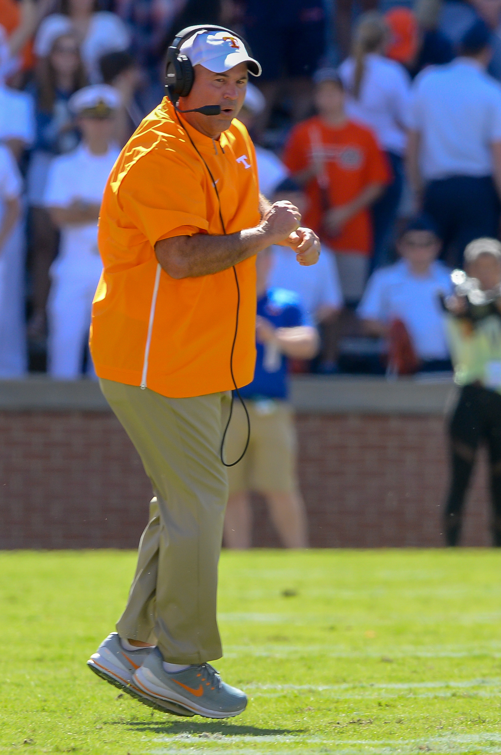 Tennessee Volunteers head coach Jeremy Pruitt celebrates a defensive stop during the second half of Saturday's game, at Jordan-Hare Stadium in Auburn, AL. Daily Mountain Eagle -  Jeff Johnsey