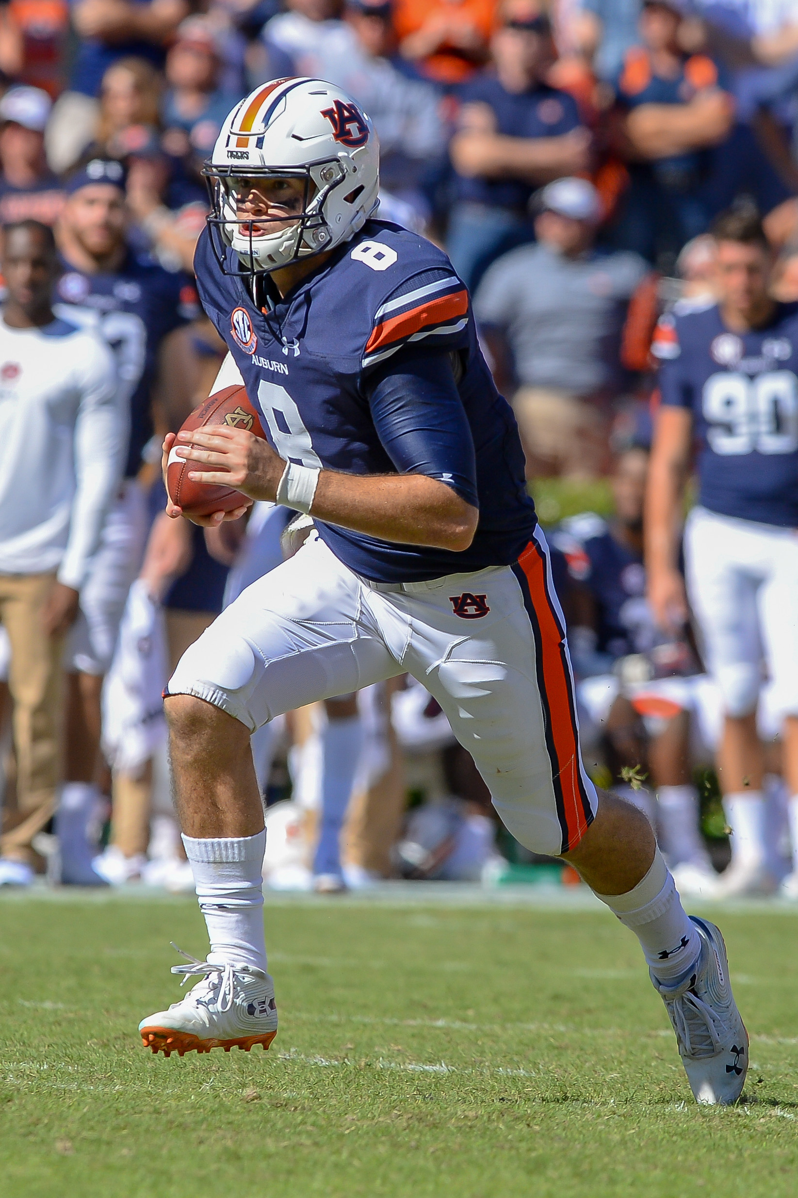 Auburn Tigers quarterback Jarrett Stidham (8) runs during the second half of Saturday's game, at Jordan-Hare Stadium in Auburn, AL. Daily Mountain Eagle -  Jeff Johnsey