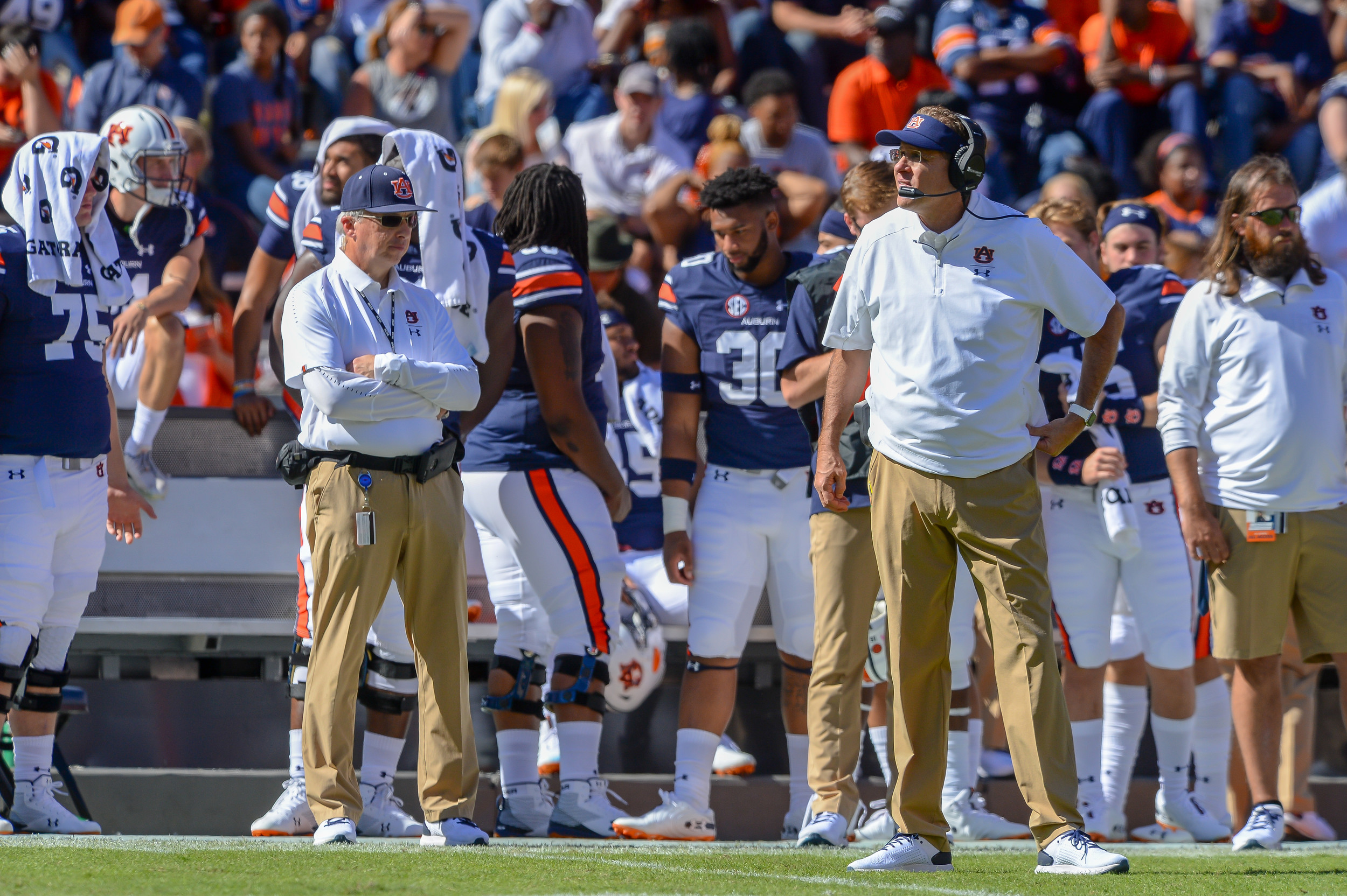 Auburn Tigers head coach Gus Malzahn awaits a replay decision during the second half of Saturday's game, at Jordan-Hare Stadium in Auburn, AL. Daily Mountain Eagle -  Jeff Johnsey