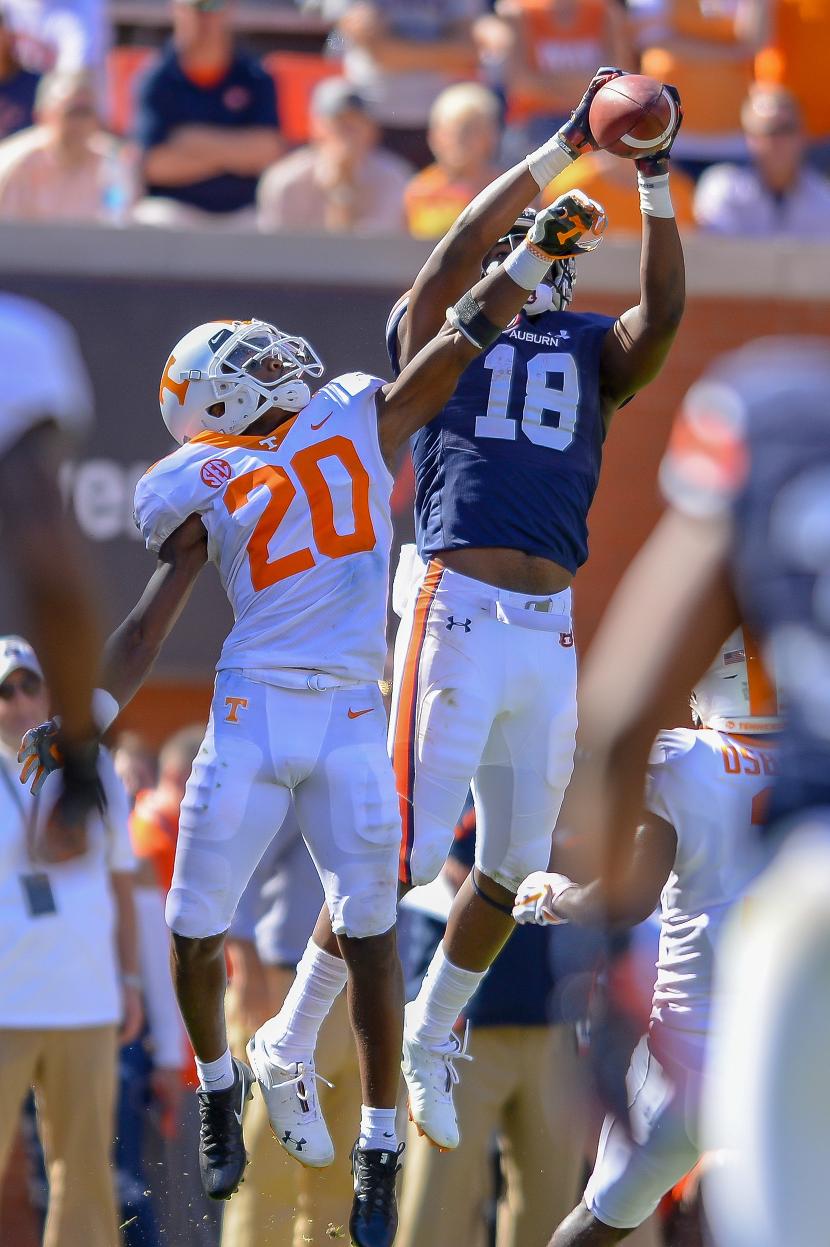 Auburn Tigers wide receiver Seth Williams (18) catches a touchdown pass in front of Tennessee Volunteers defensive back Bryce Thompson (20) during the second half of Saturday's game, at Jordan-Hare Stadium in Auburn, AL. Daily Mountain Eagle -  Jeff Johnsey