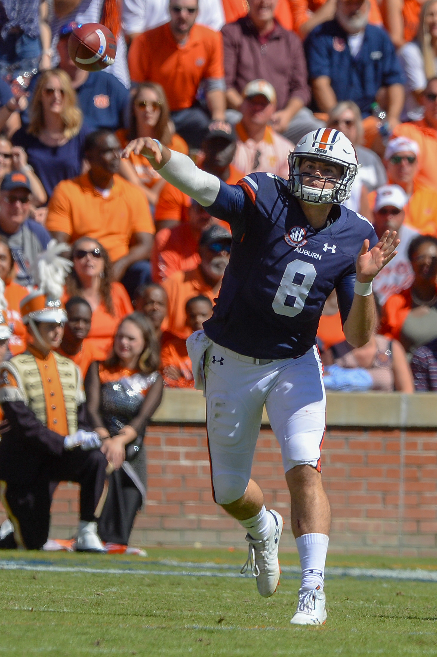 Auburn Tigers quarterback Jarrett Stidham (8) throws a pass during the first half of Saturday's game, at Jordan-Hare Stadium in Auburn, AL. Daily Mountain Eagle -  Jeff Johnsey