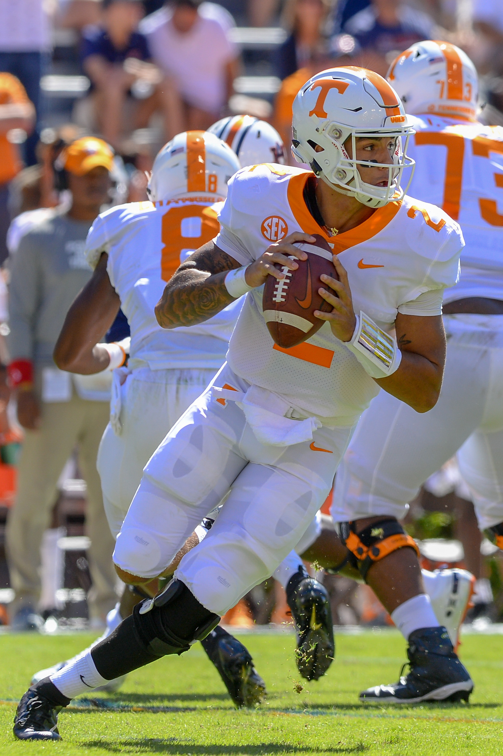 Tennessee Volunteers quarterback Jarrett Guarantano (2) rooms out during the first half of Saturday's game, at Jordan-Hare Stadium in Auburn, AL. Daily Mountain Eagle -  Jeff Johnsey