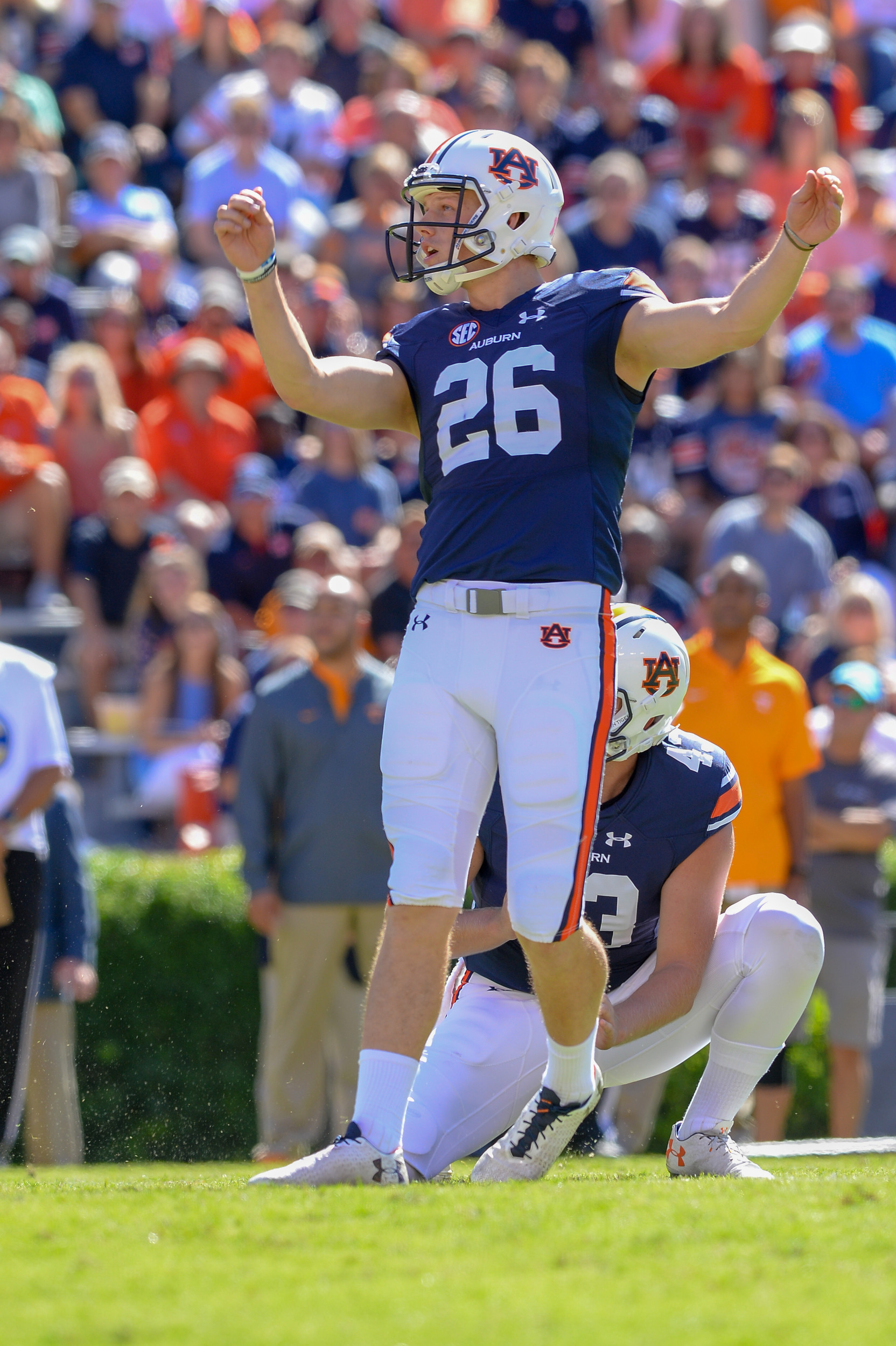 Auburn Tigers place kicker Anders Carlson (26) watches as is field goal attempt is good during the first half of Saturday's game, at Jordan-Hare Stadium in Auburn, AL. Daily Mountain Eagle -  Jeff Johnsey