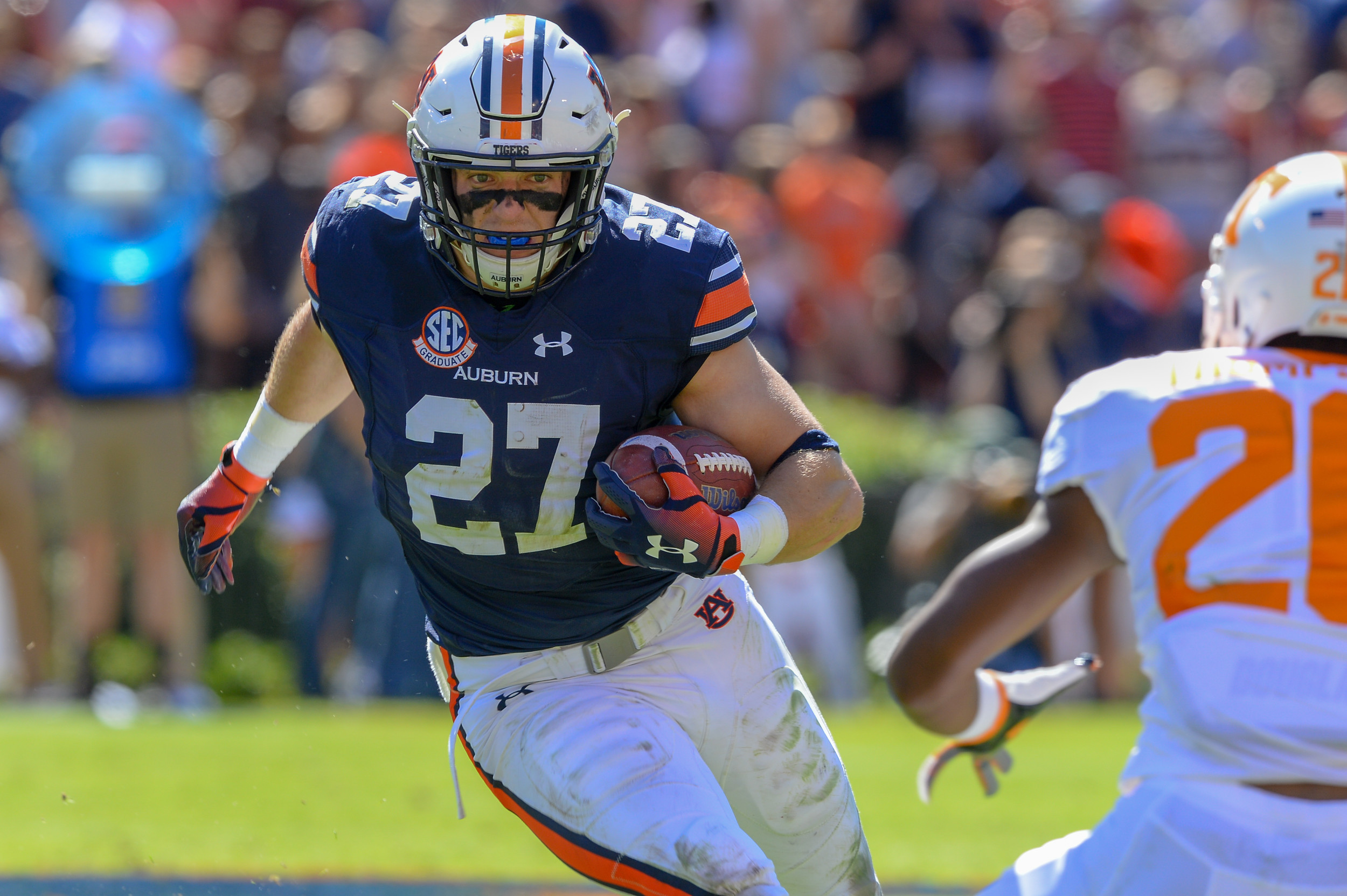Auburn Tigers fullback Chandler Cox runs during the first half of Saturday's game, at Jordan-Hare Stadium in Auburn, AL. Daily Mountain Eagle -  Jeff Johnsey