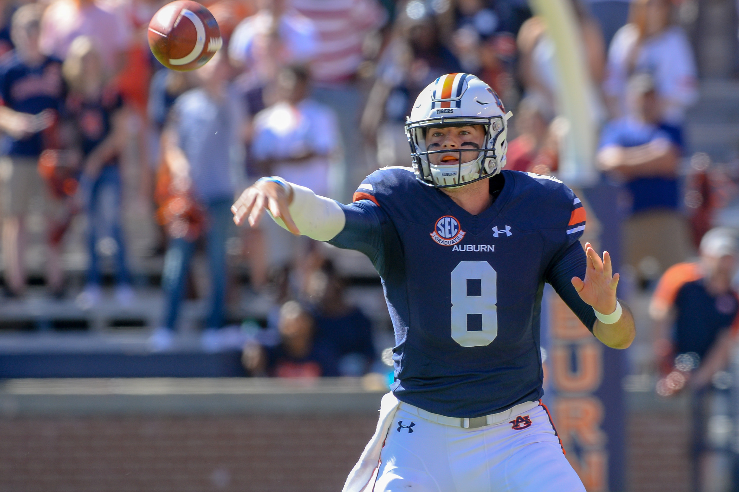 Auburn Tigers quarterback Jarrett Stidham (8) throws during the first half of Saturday's game, at Jordan-Hare Stadium in Auburn, AL. Daily Mountain Eagle -  Jeff Johnsey