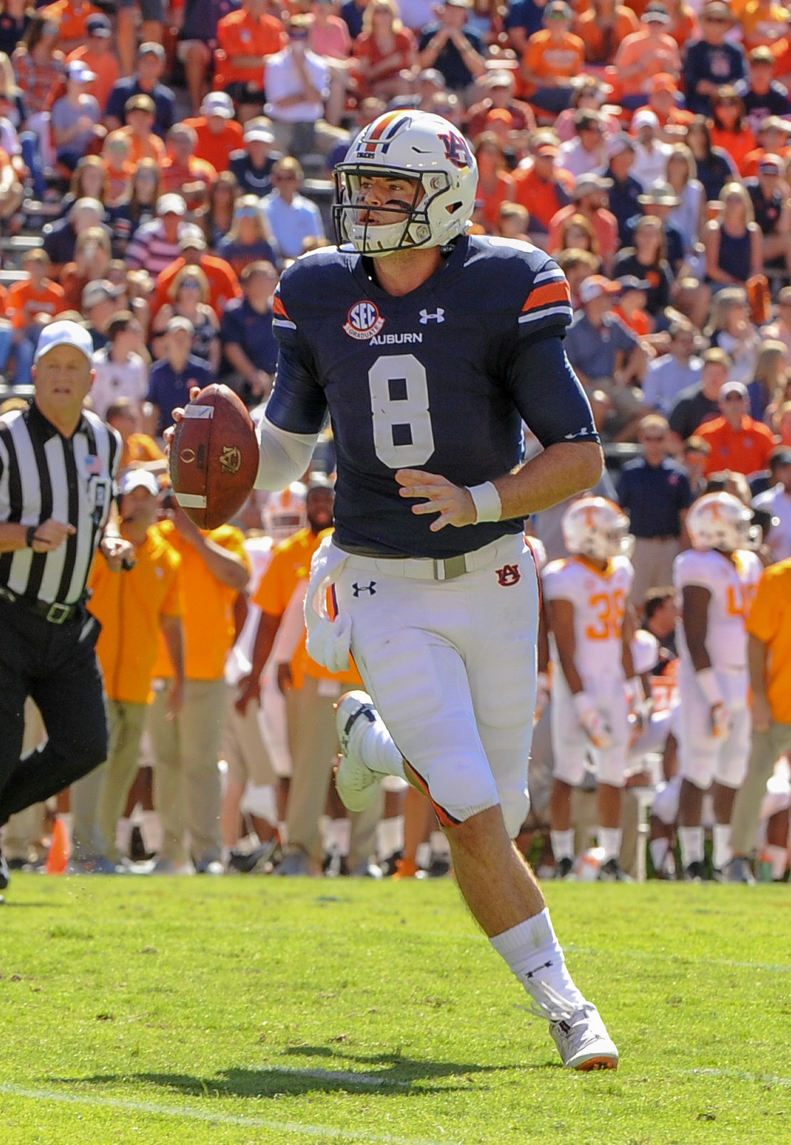 Auburn Tigers quarterback Jarrett Stidham (8) looks to throw during the first half of Saturday's game, at Jordan-Hare Stadium in Auburn, AL. Daily Mountain Eagle -  Jeff Johnsey