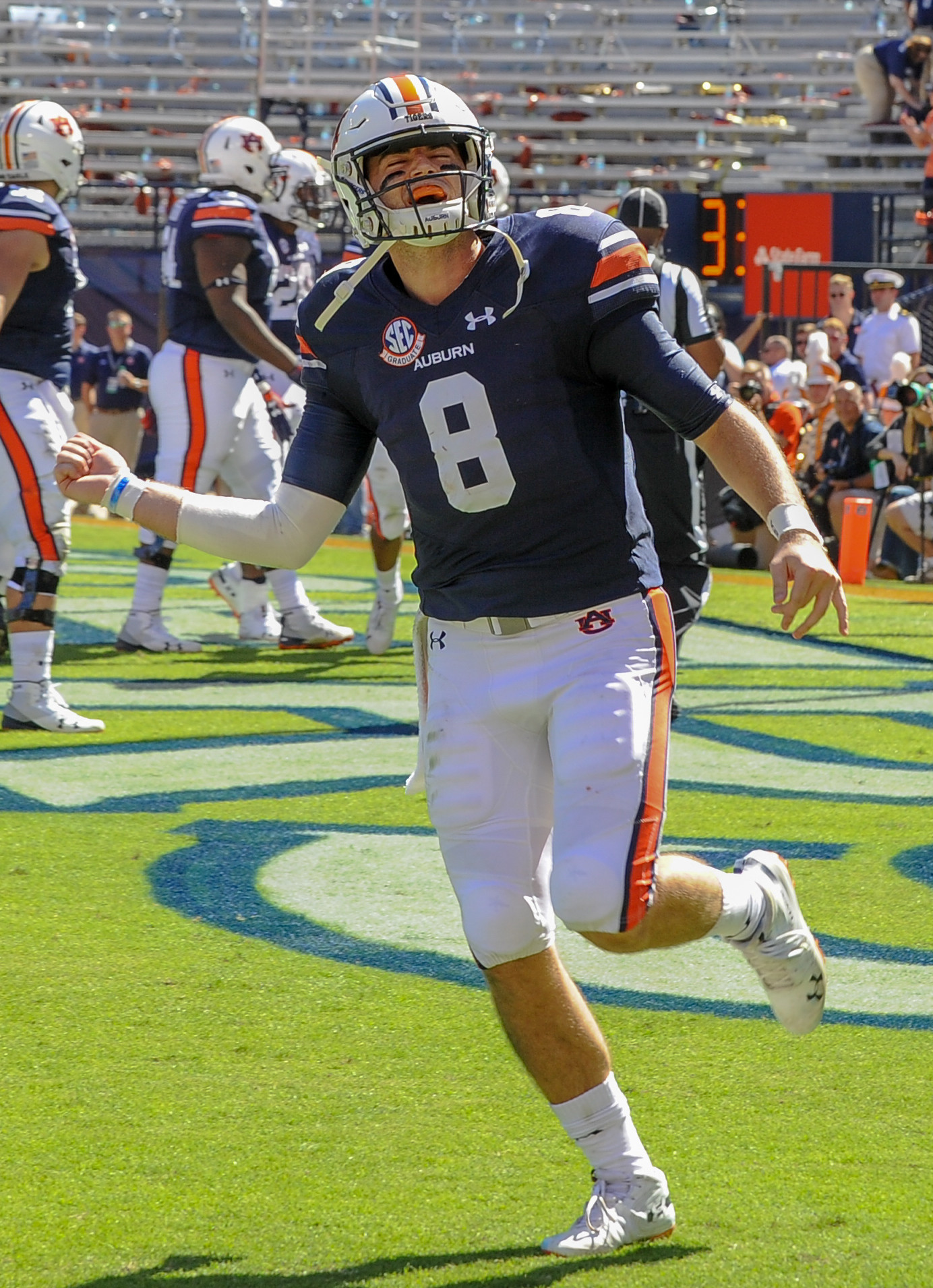Auburn Tigers quarterback Jarrett Stidham (8) celebrates after throwing a touchdown pass during the first half of Saturday's game, at Jordan-Hare Stadium in Auburn, AL. Daily Mountain Eagle -  Jeff Johnsey