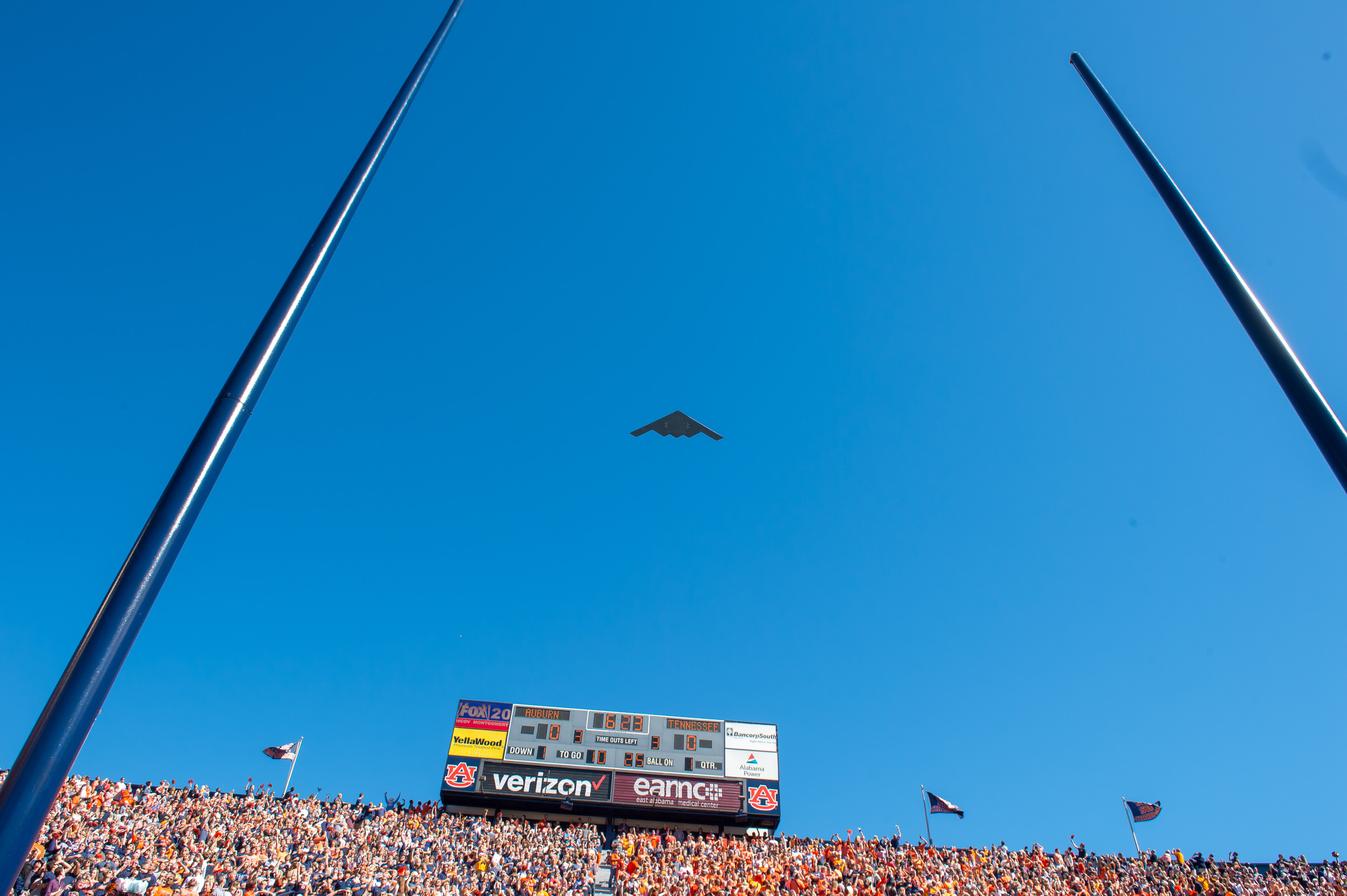 A B2 bomber flies overhead prior to Saturday's game, at Jordan-Hare Stadium in Auburn, AL. Daily Mountain Eagle -  Jeff Johnsey