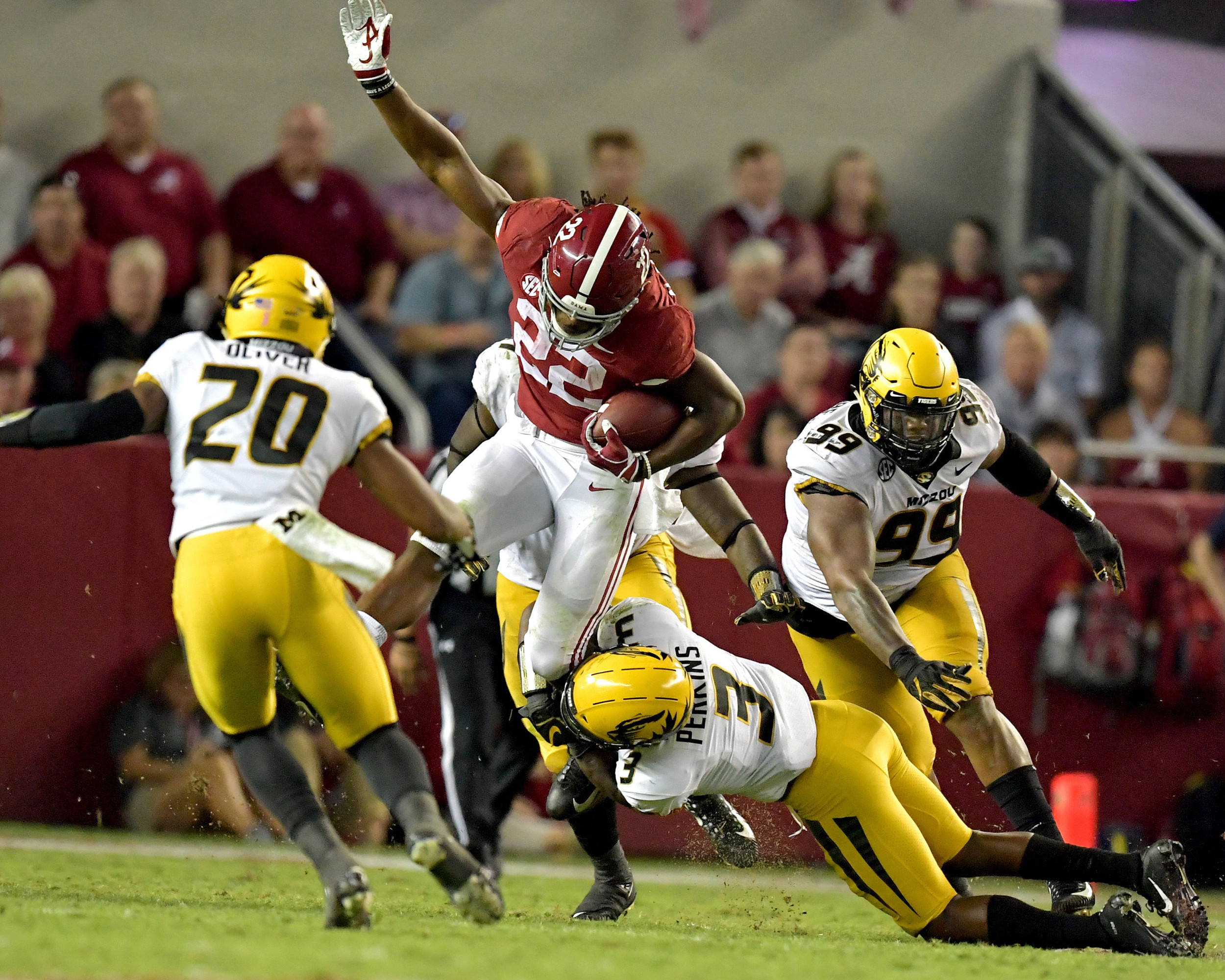 From the second half of the Missouri Tigers versus Alabama Crimson Tide NCAA football game at Bryant-Denny Stadium in Tuscaloosa, Ala., on Oct. 13, 2018. Alabama defeated Missouri 39-10. (Photo by Lee Walls)