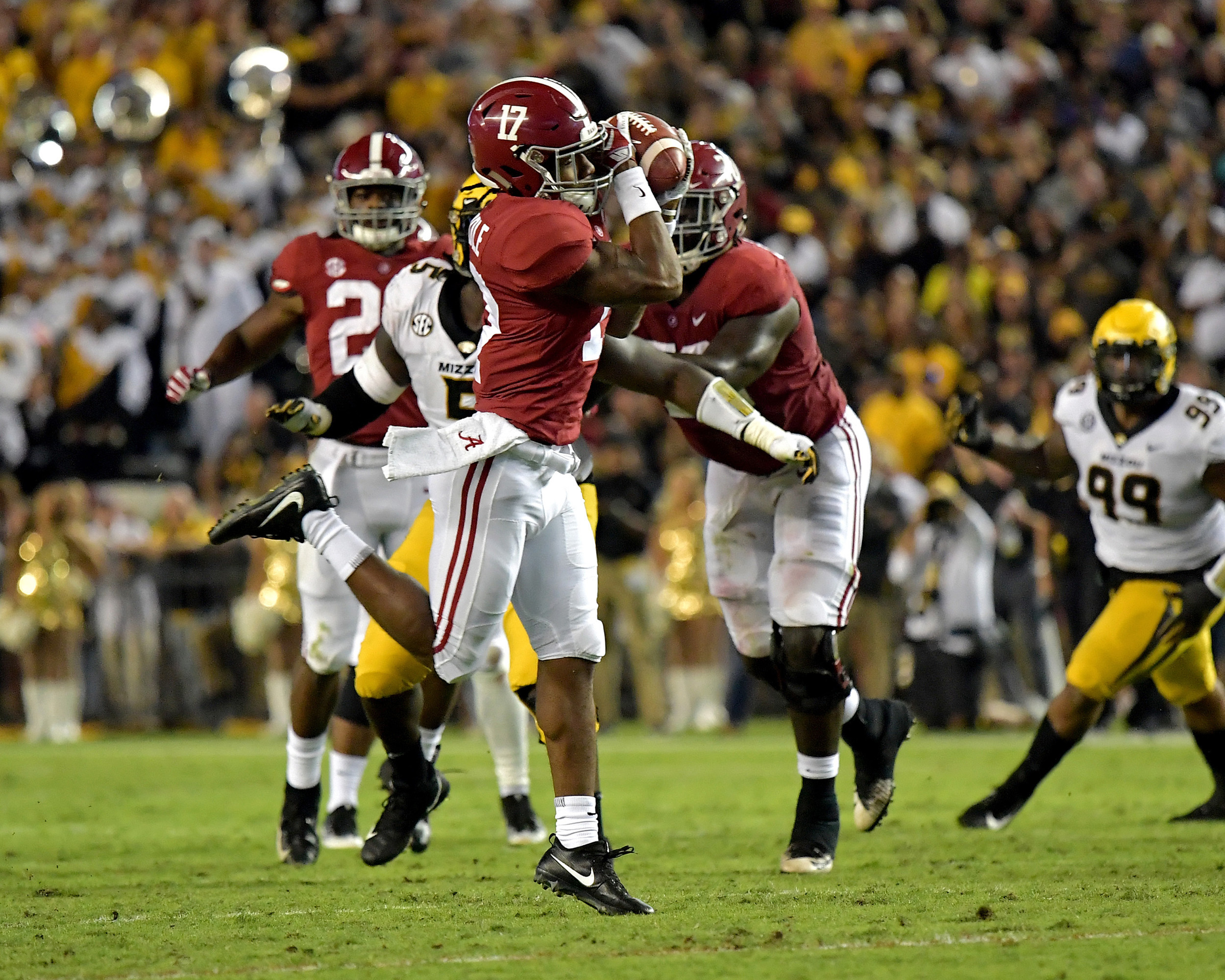 From the first half of the Missouri Tigers versus Alabama Crimson Tide NCAA football game at Bryant-Denny Stadium in Tuscaloosa, Ala., on Oct. 13, 2018. Alabama defeated Missouri 39-10. (Photo by Lee Walls)