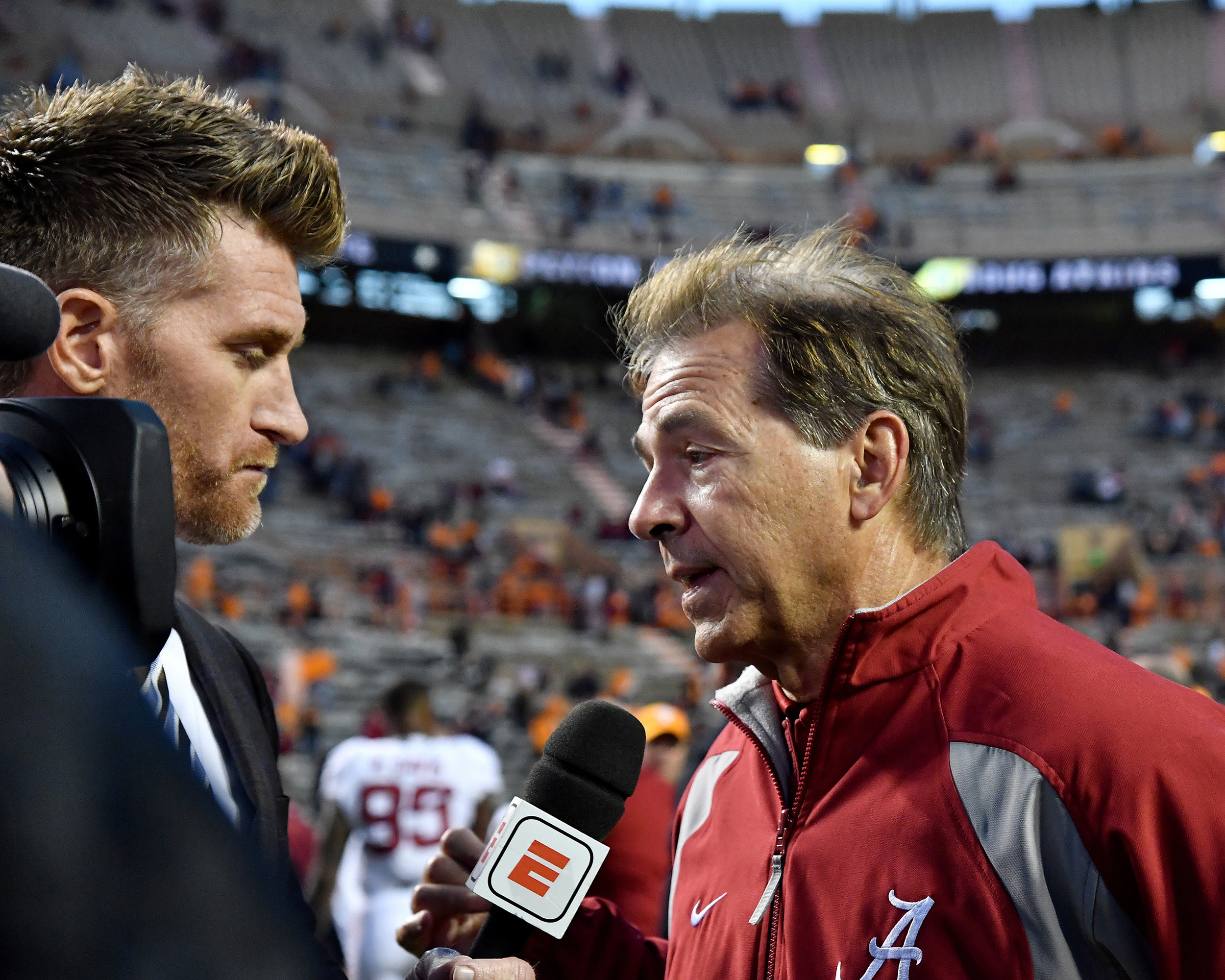 Alabama Crimson Tide head coach Nick Saban is interviewed by ESPN's Marty Smith following Alabama's 58-21 win over the Tennessee Volunteers on Saturday, Oct. 20, 2018, at Neyland Stadium in Knoxville. Tenn. Alabama wins 58-21. (Photo by Lee Walls)