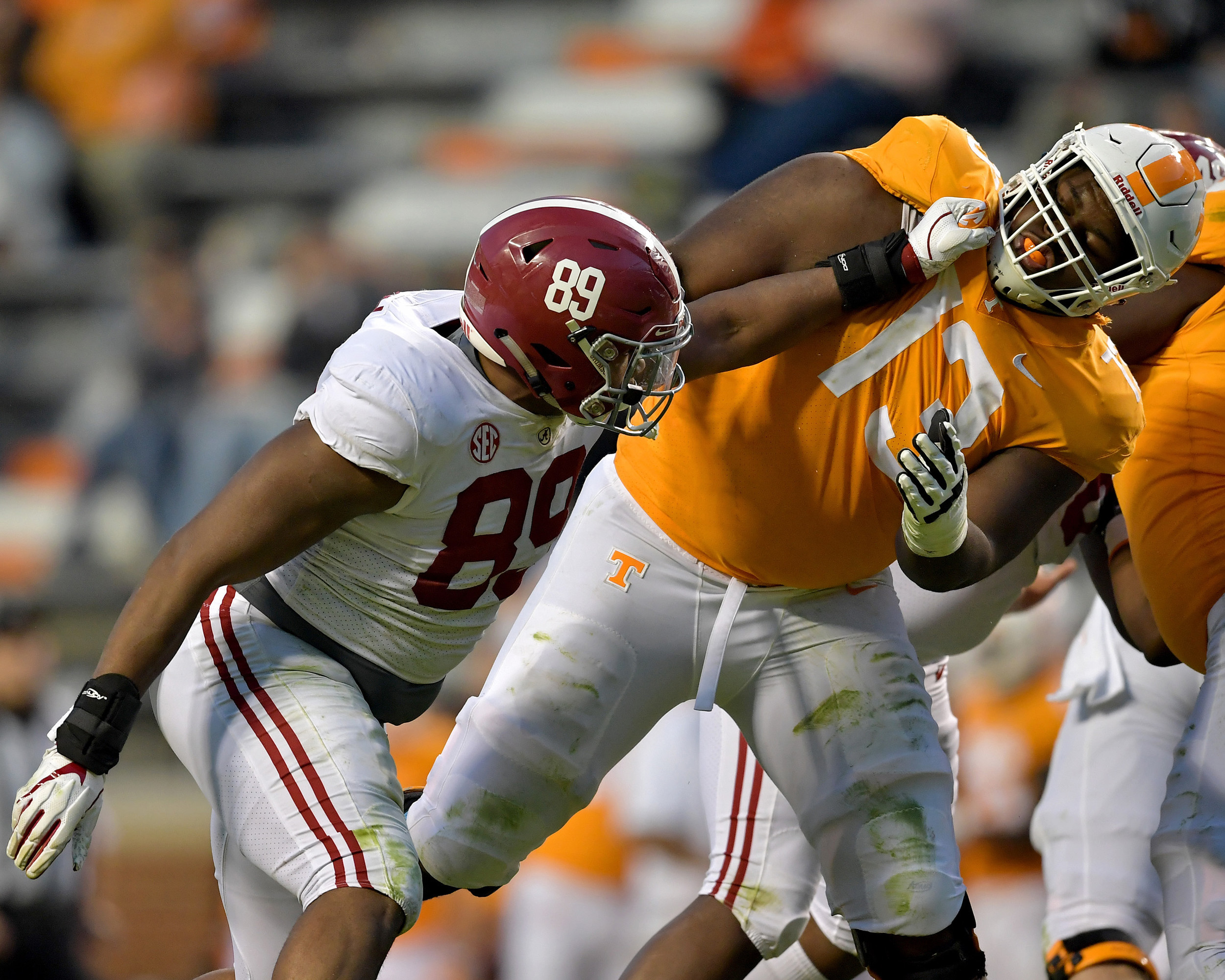 Alabama Crimson Tide defensive lineman LaBryan Ray (89) and Tennessee Volunteers Deandre Johnson (13) battle at the line of scrimmage in the fourth quarter of the NCAA football game on Saturday, Oct. 20, 2018, at Neyland Stadium in Knoxville. Tenn. Alabama wins 58-21. (Photo by Lee Walls)