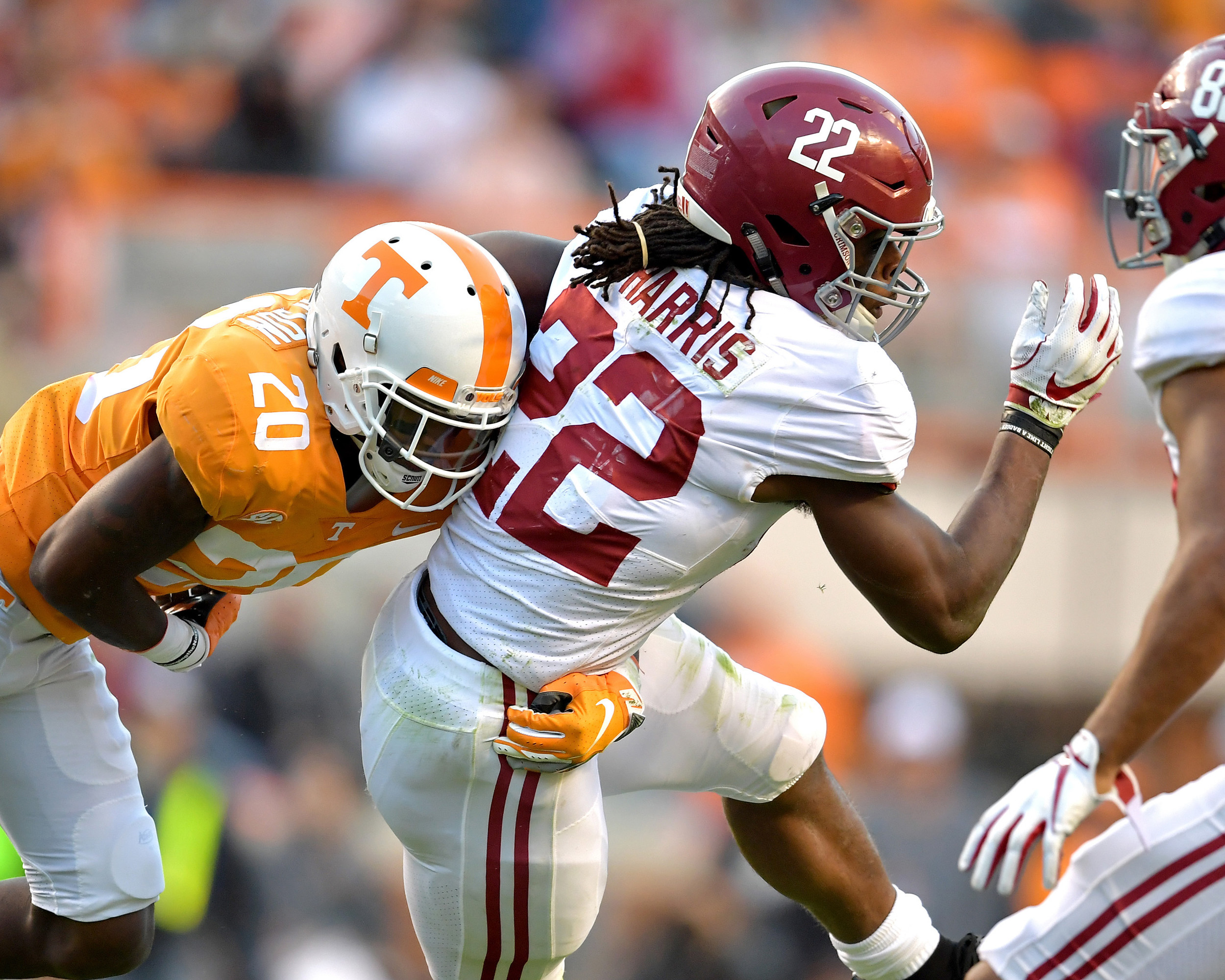 Alabama Crimson Tide running back Najee Harris (22) is seen in action in the second half of the Alabama at Tennessee NCAA football game on Saturday, Oct. 20, 2018, at Neyland Stadium in Knoxville. Tenn. Alabama wins 58-21. (Photo by Lee Walls)