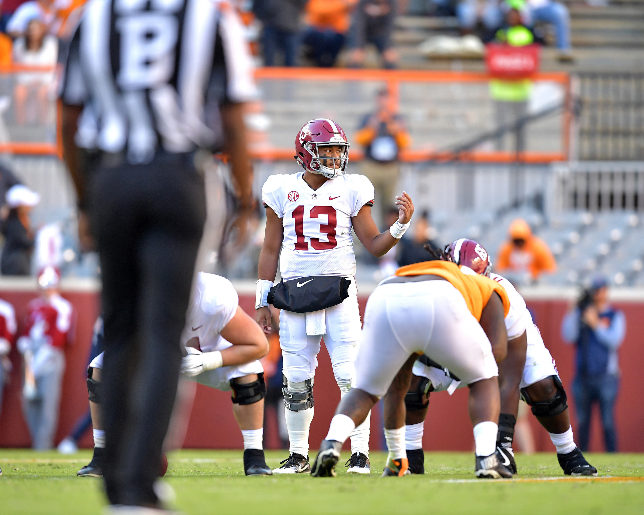 Alabama Crimson Tide quarterback Tua Tagovailoa (13) makes an adjustment at the line of scrimmage in the second quarter of the Alabama at Tennessee NCAA football game on Saturday, Oct. 20, 2018, at Neyland Stadium in Knoxville. Tenn. Alabama wins 58-21. (Photo by Lee Walls)