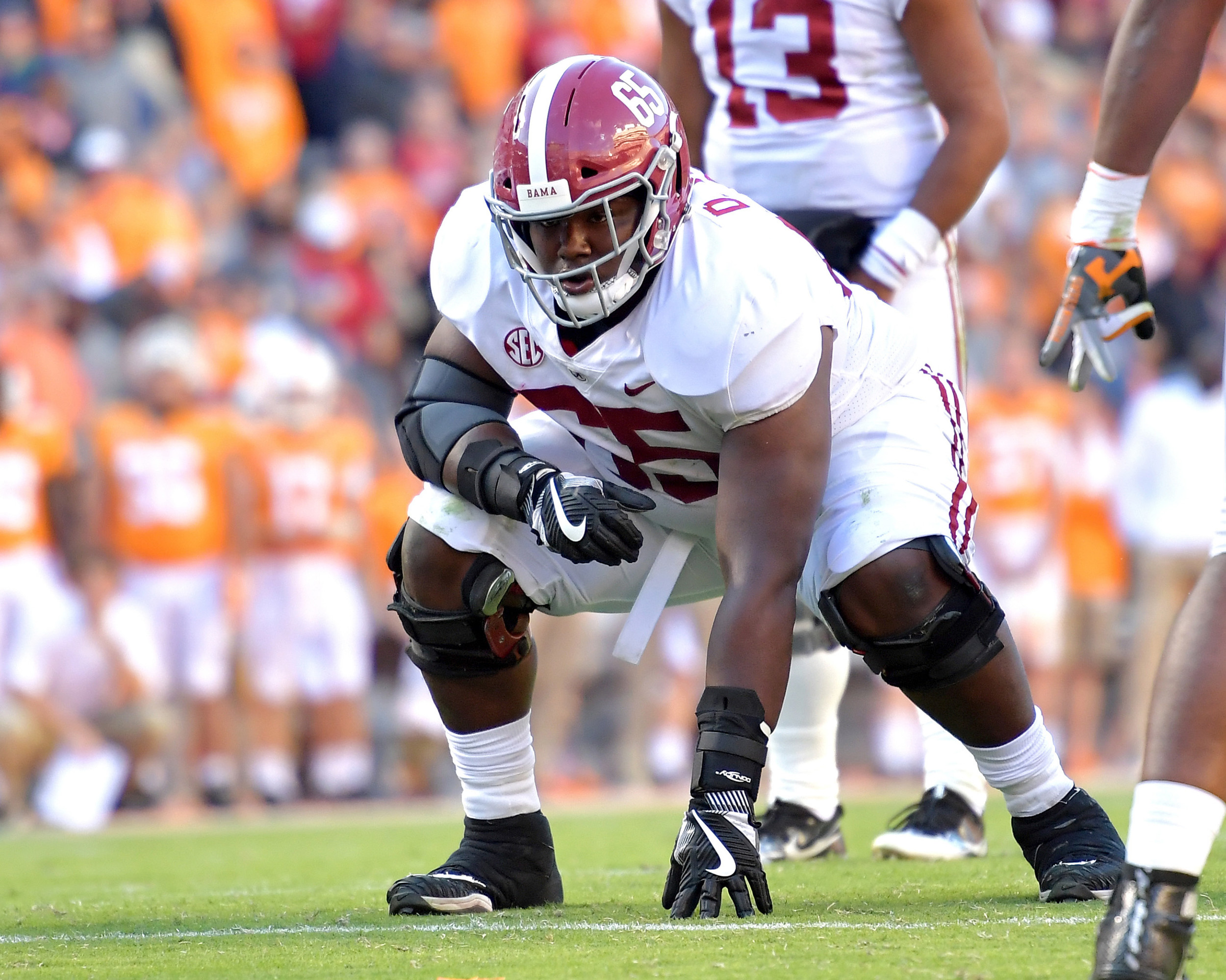Alabama Crimson Tide offensive lineman Deonte Brown (65) is set prior to the snap during the second quarter of the Alabama at Tennessee NCAA football game on Saturday, Oct. 20, 2018, at Neyland Stadium in Knoxville. Tenn. Alabama wins 58-21. (Photo by Lee Walls)